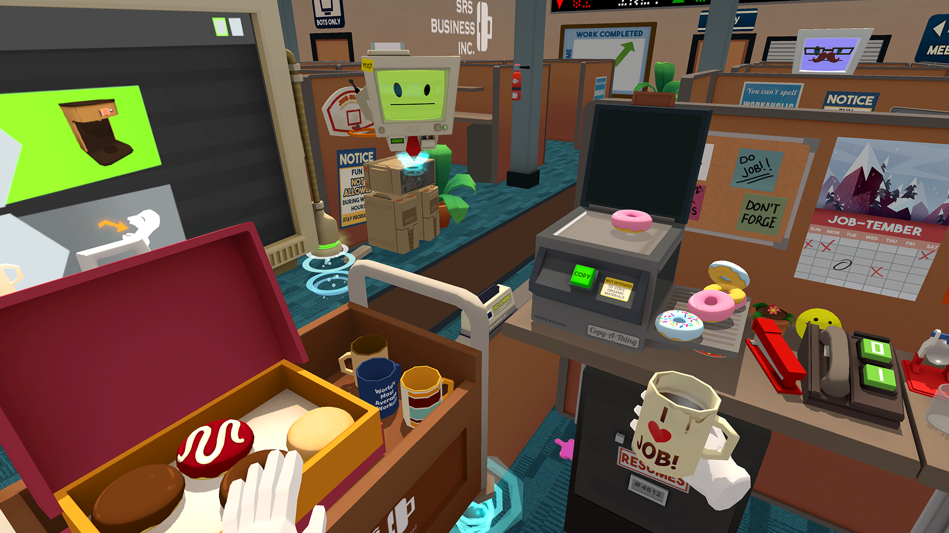 "Owlchemy Labs' ""Job Simulator"" is one of the game demos available on the HTC Vive retail experience at GameStop and Microsoft stores."