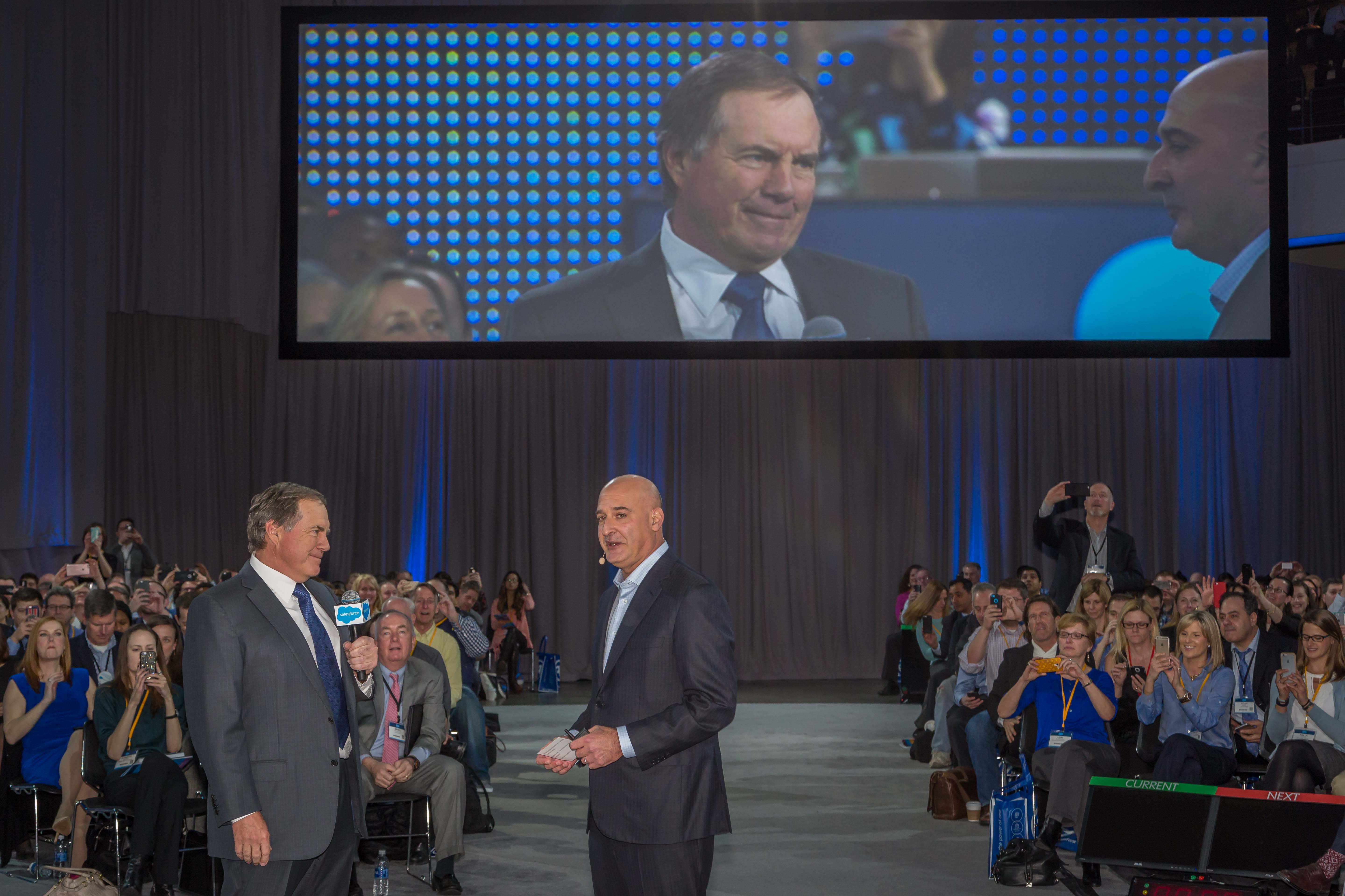 Patriot's coach Bill Belichik and Salesforce president Keith Block at a Boston event.