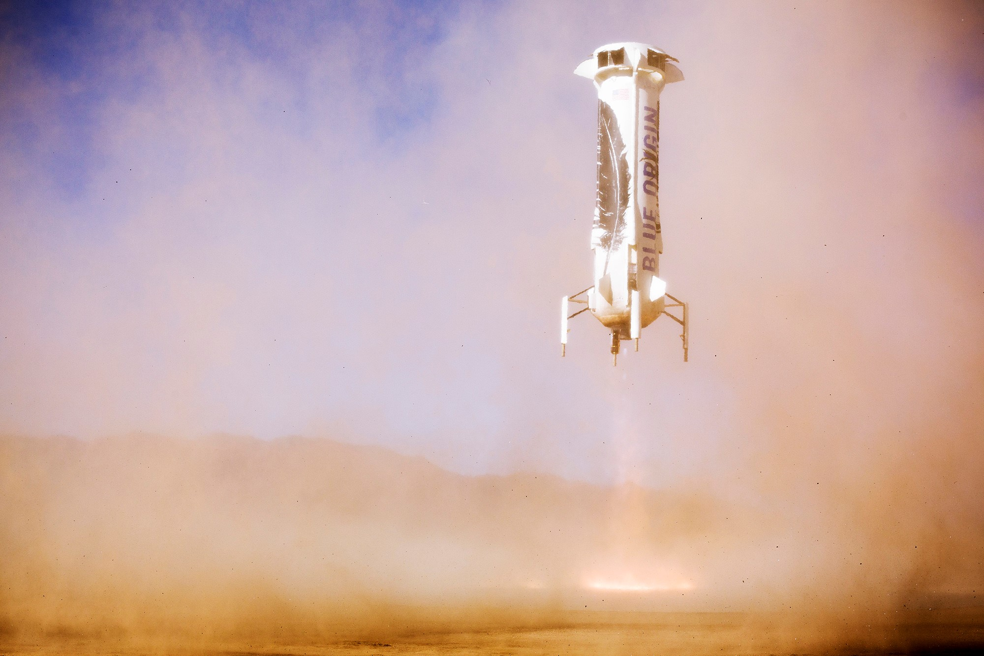 Blue Origin's New Shepard demonstrates its landing capability in an undated photo.