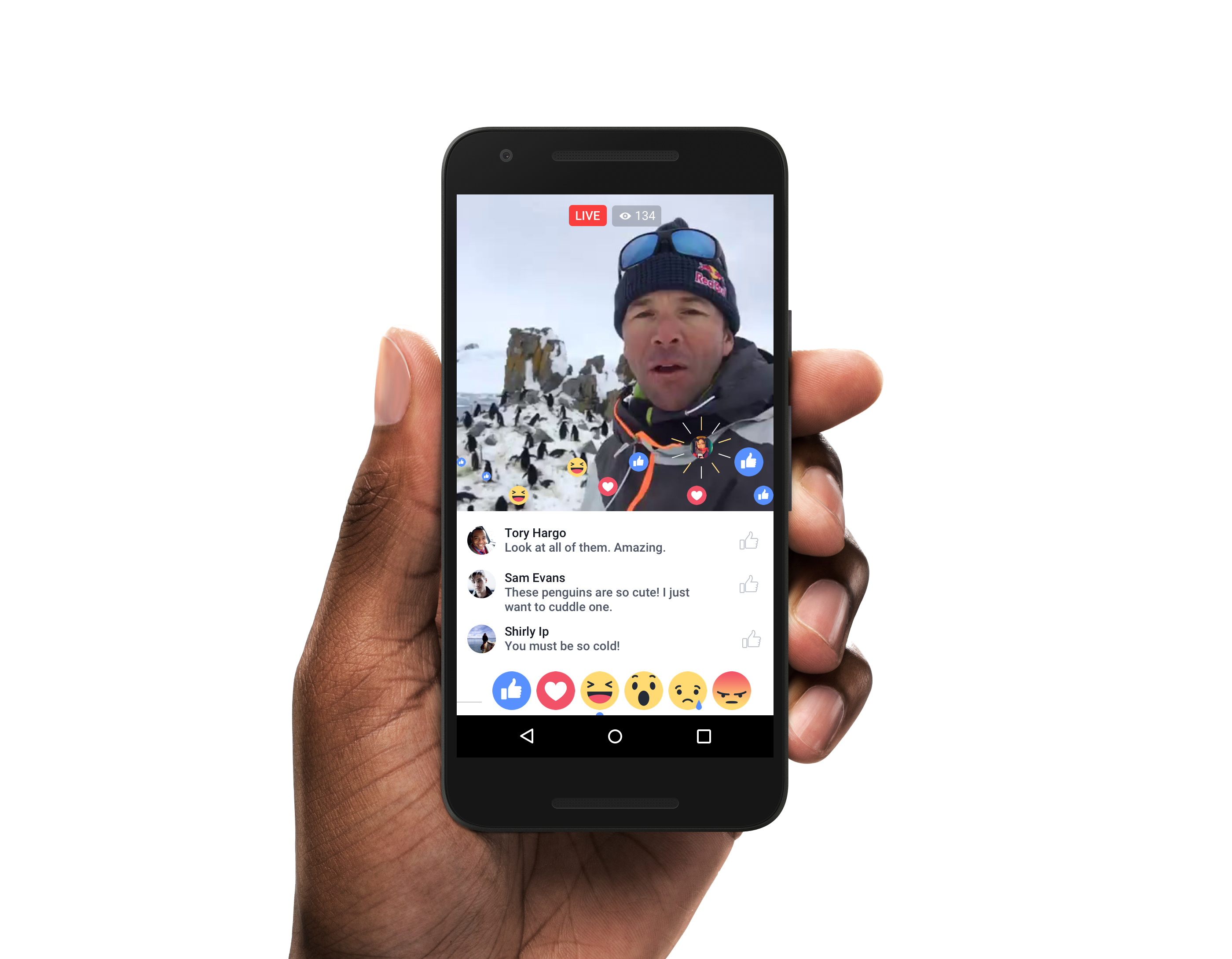 Facebook's Live Reactions in action.
