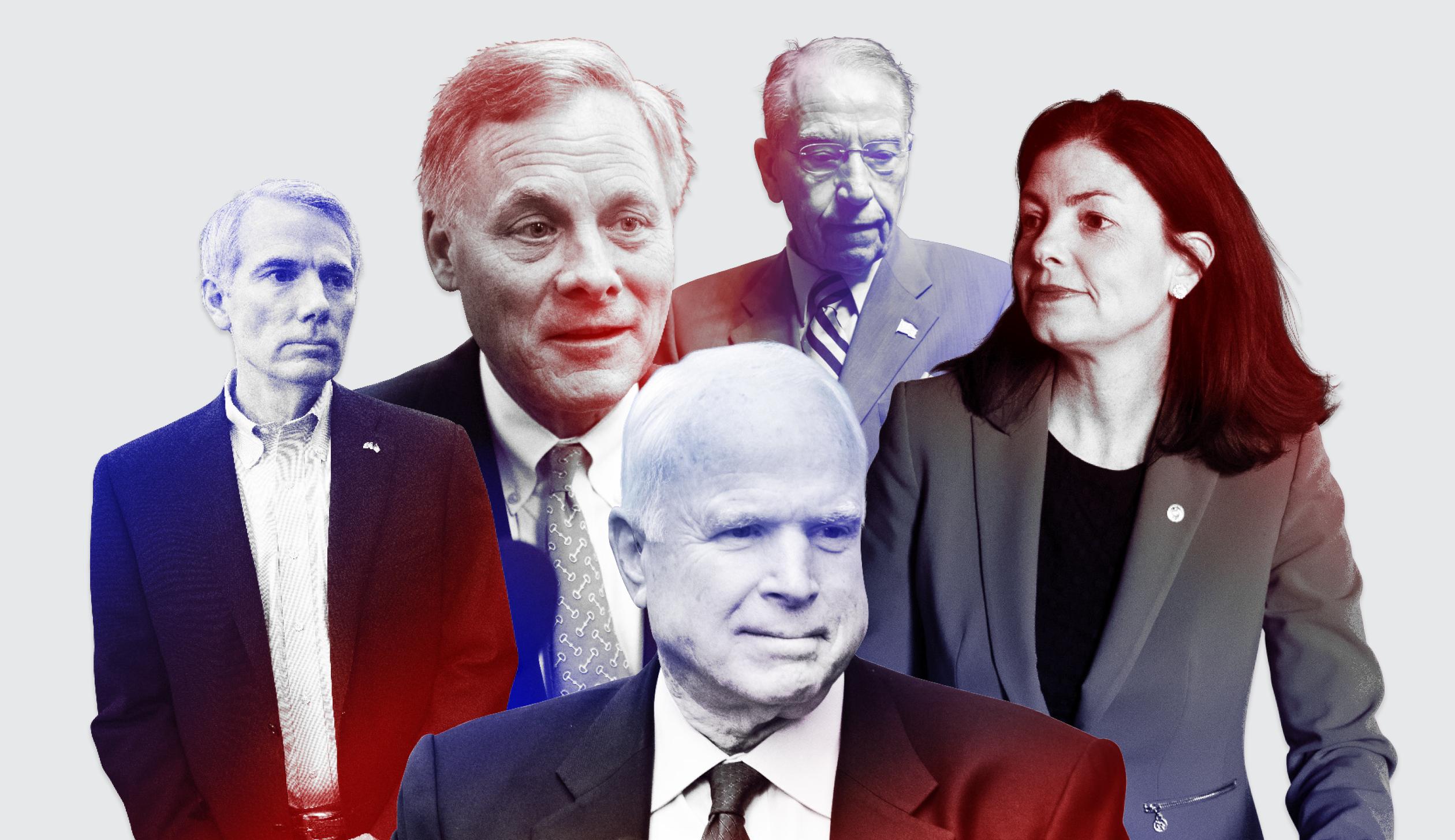 Rob Portman, left, Richard Burr, Chuck Grassley, Kelly Ayotte, and John McCain, front