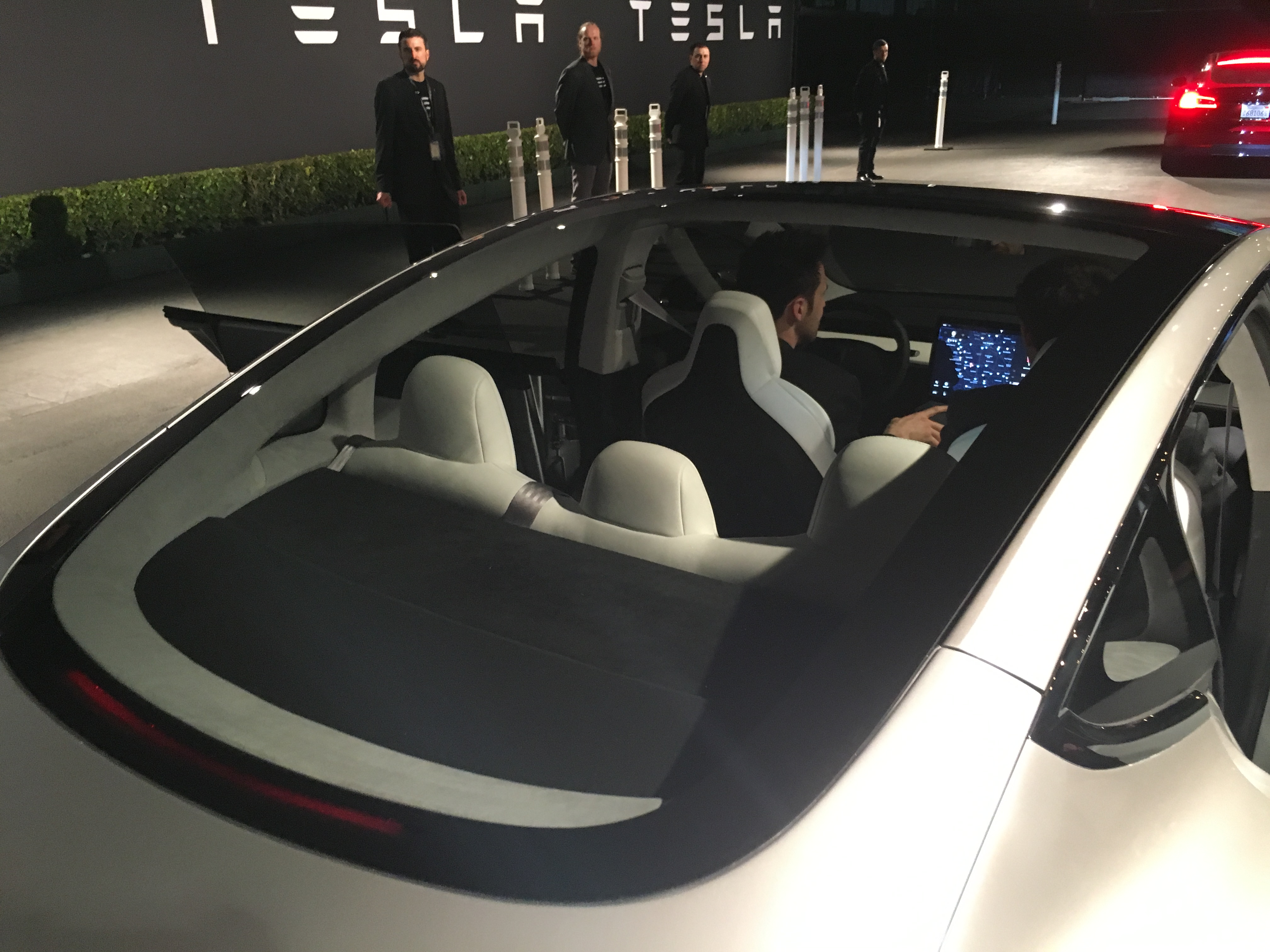 The back windshield of Tesla's Model 3, taken during a test ride in Hawthorne, Calif.