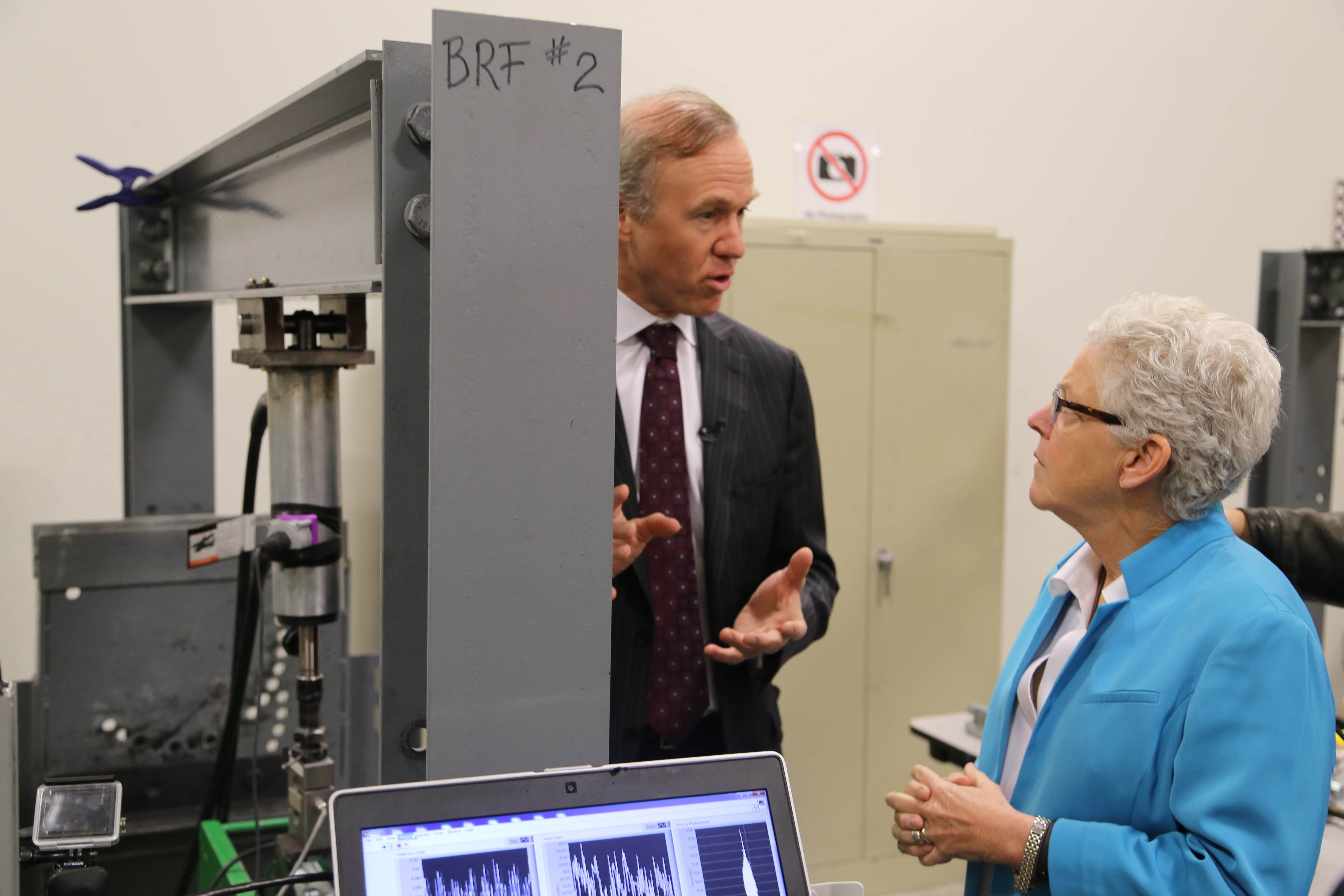 NEXTracker CEO Dan Shugar shows off the company's testing lab to EPA head Gina McCarthy.