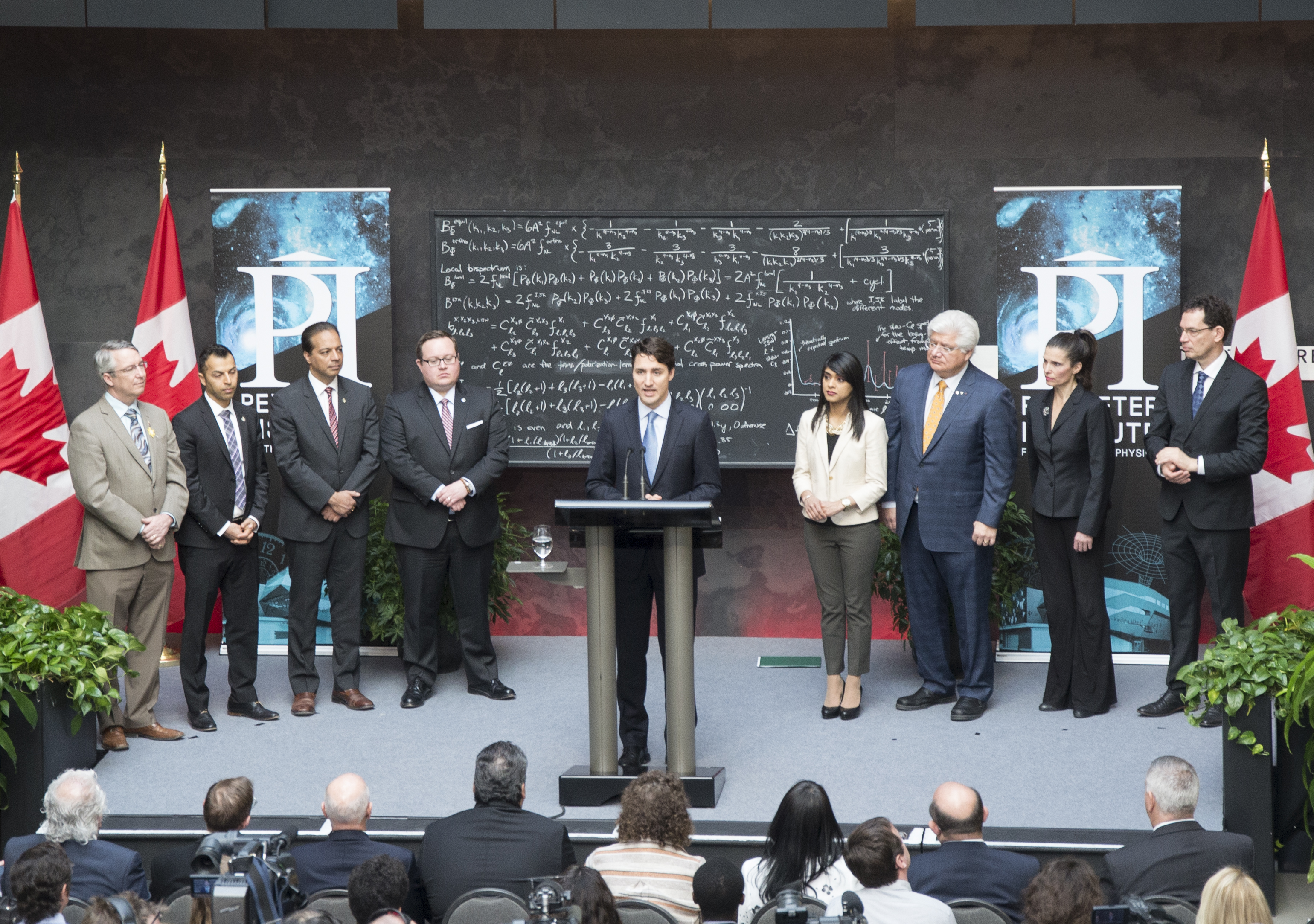 Canadian Prime Minister Justin Trudeau at the Perimeter Institute Friday.