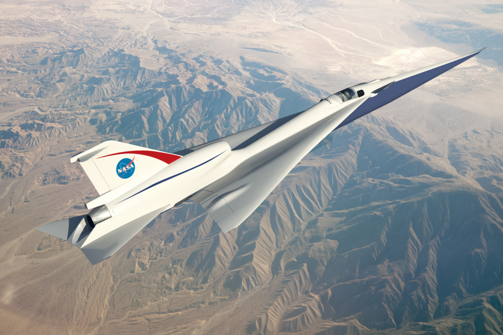 A rendering of Lockheed Martin's Quiet Supersonic Technology, or QueSST, concept plane. It will be NASA's first modern X-plane.