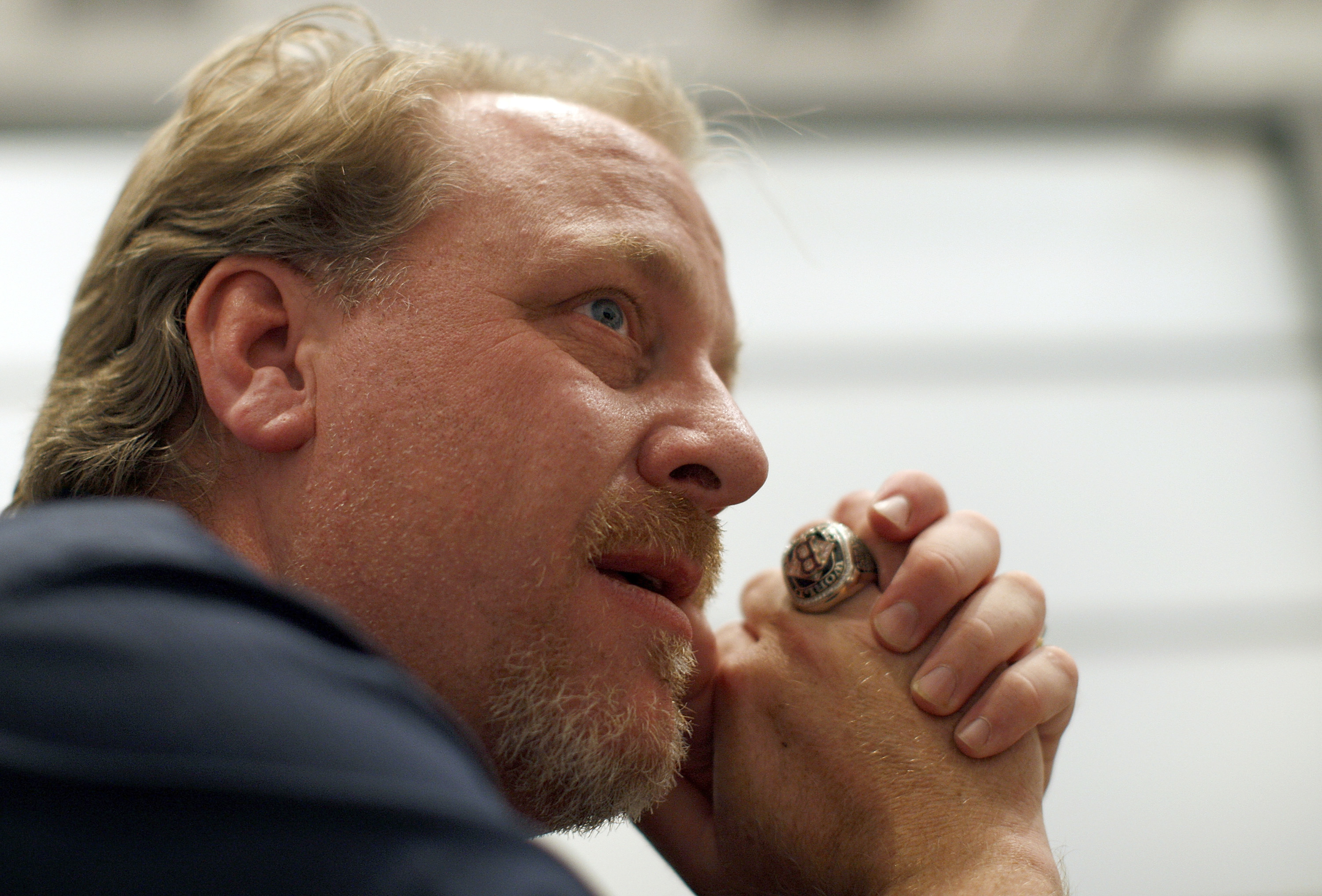 Former MLB player Curt Schilling talks with a reporter at the Electronic Entertainment Expo in Los Angeles