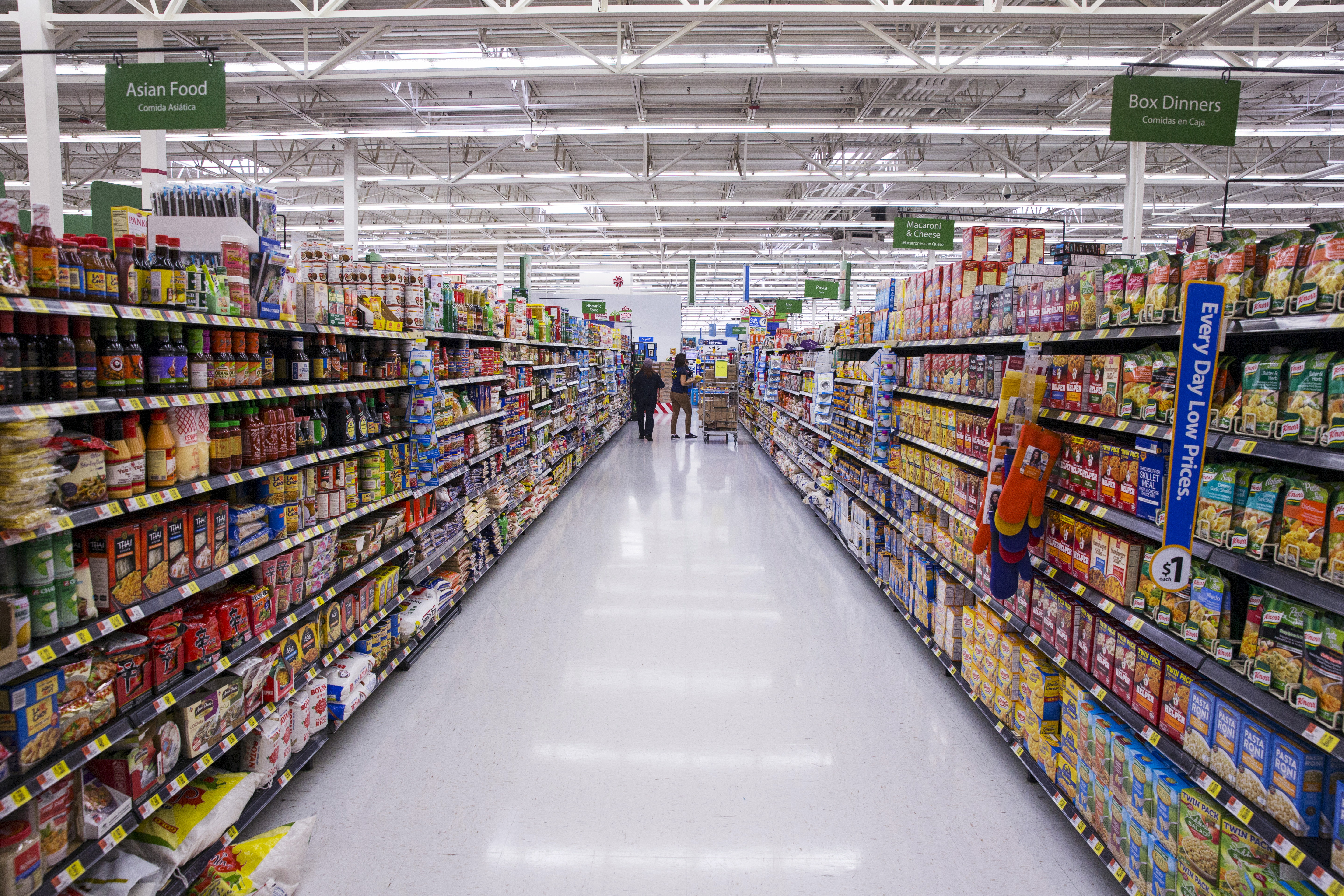 Non-perishable food is displayed at a Walmart store in Secaucus, New Jersey