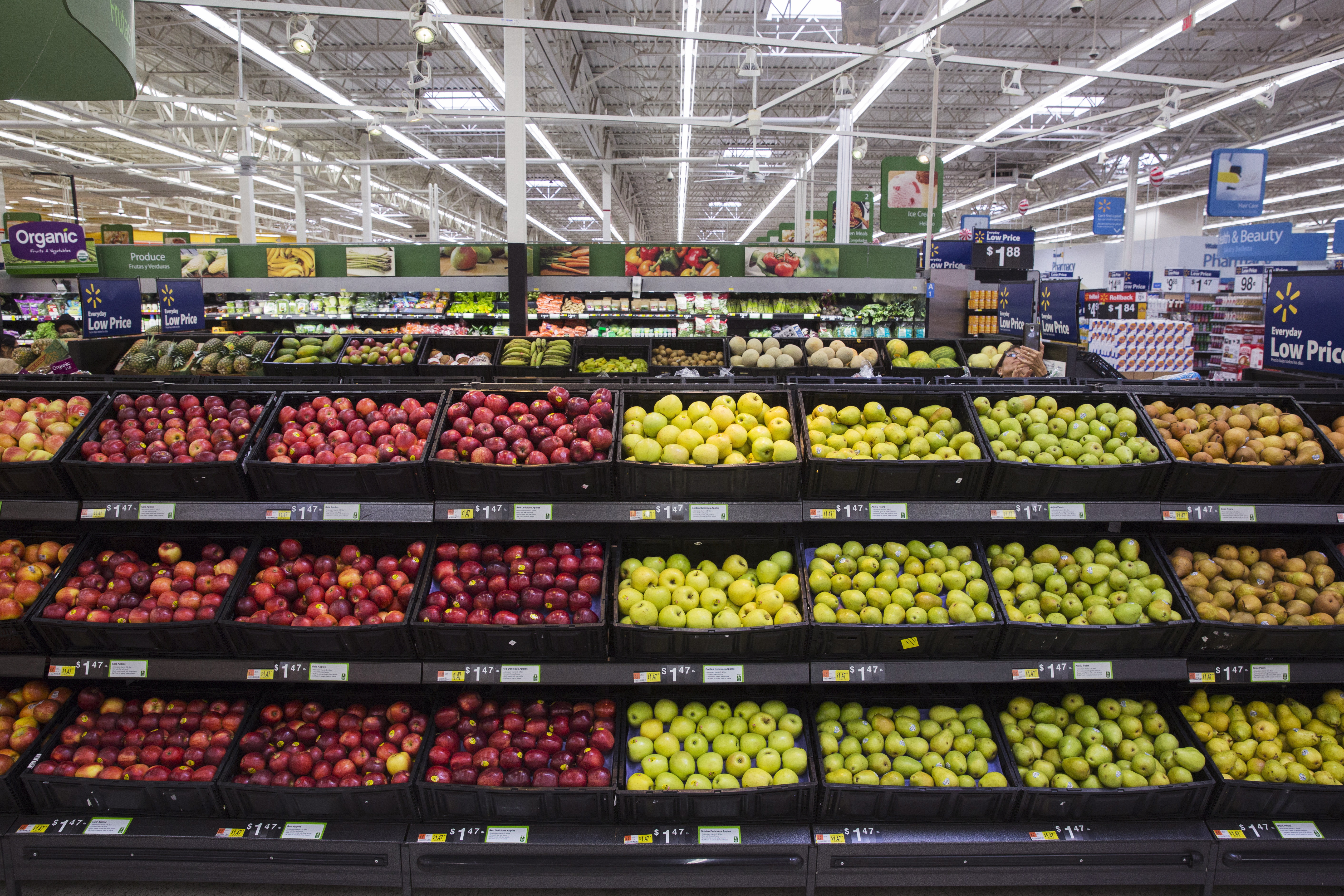 The fresh produce is displayed at a Walmart store in Secaucus, New Jersey