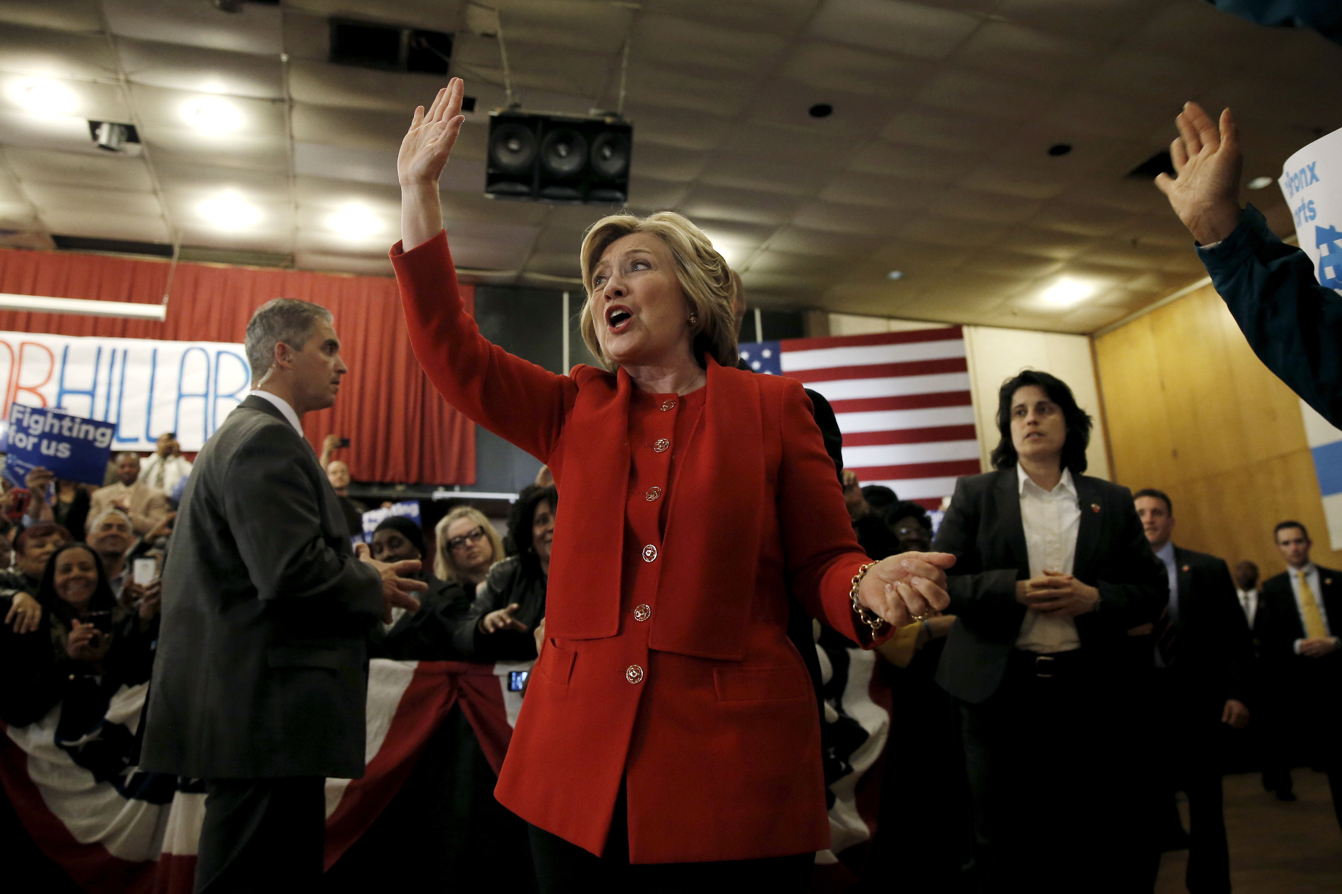 Democratic U.S. presidential candidate Hillary Clinton waves to supporters as she arrives at a campaign rally in the Bronx borough of New York City