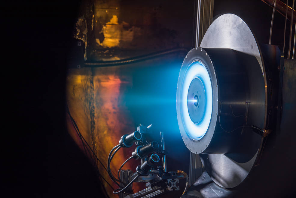 A prototype electric thruster  during testing at NASA's Glenn Research Center in Cleveland.