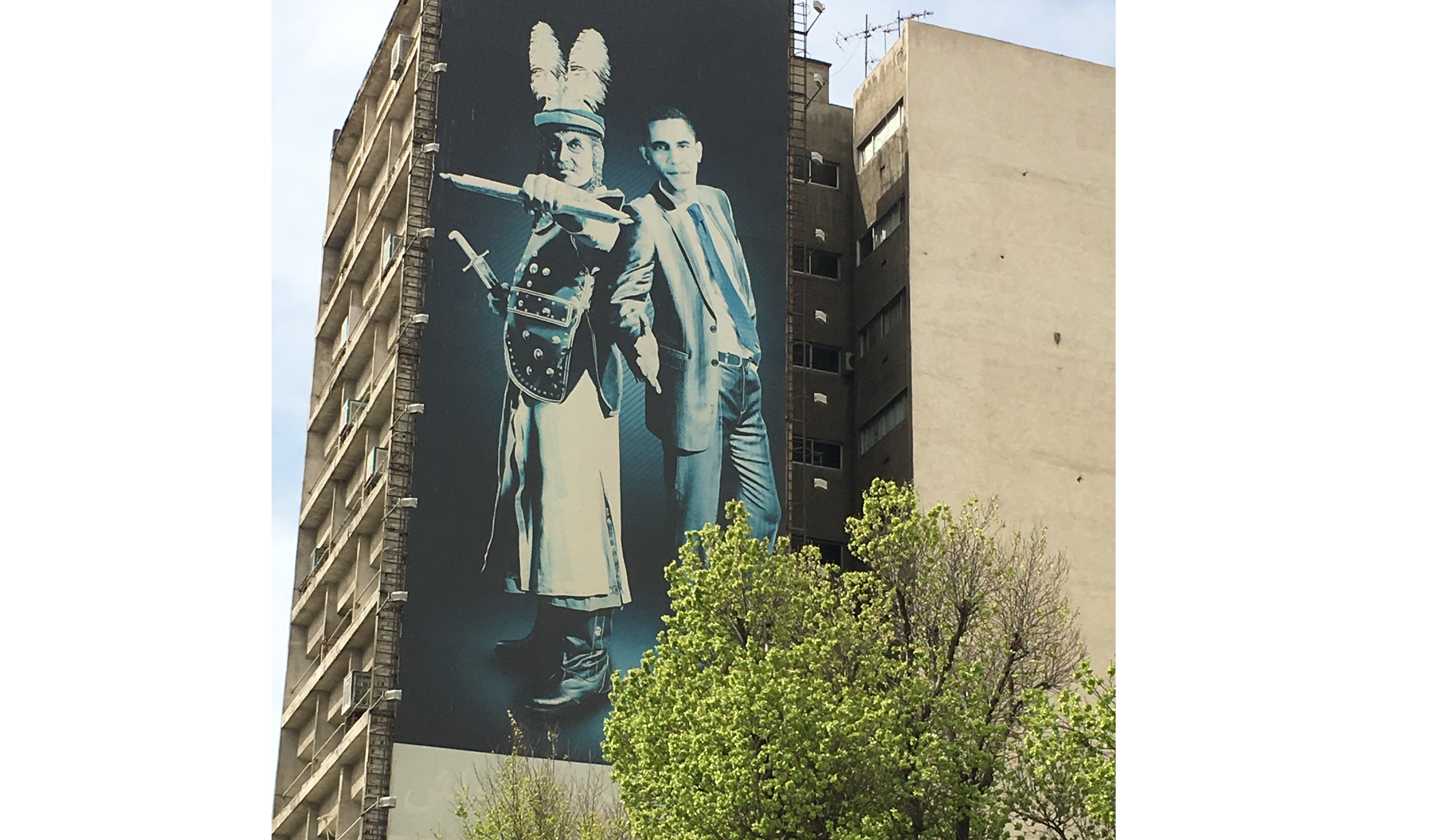 A mural in downtown Tehran shows President Obama with the 7th-century villain Shemr, who killed the Shiite Muslims' leader Hussein. The cryptic artwork suggests Obama cannot be trusted.