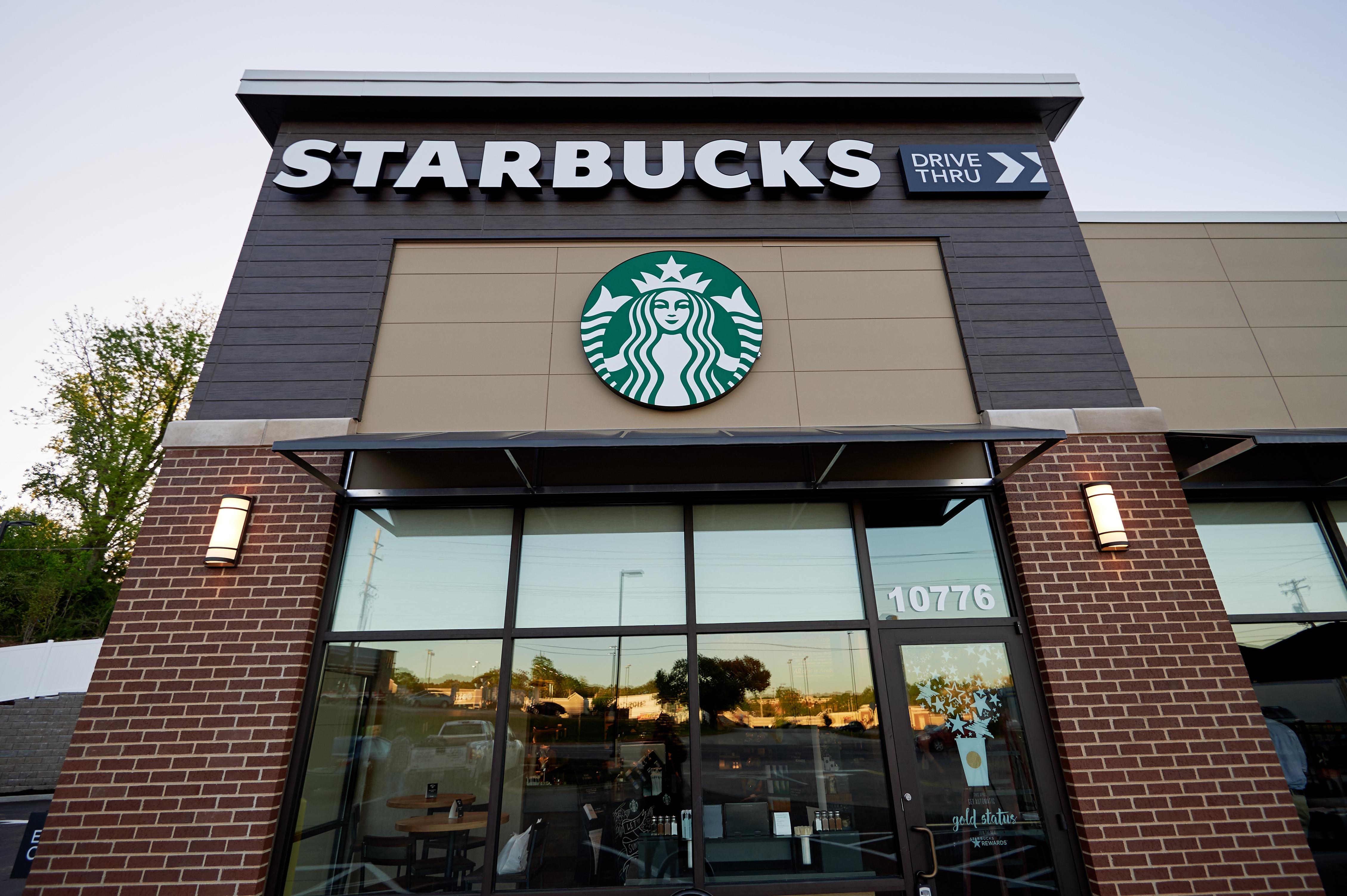 Exterior of the Ferguson Starbucks location on April 28, 2016 in Ferguson, Missouri. Photo: Michael Thomas for Starbucks Coffee Company.