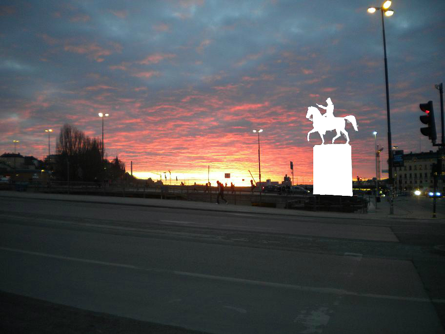 Sunset over Lake Mälar with 1854 statue of Carl XIV John of Sweden removed.