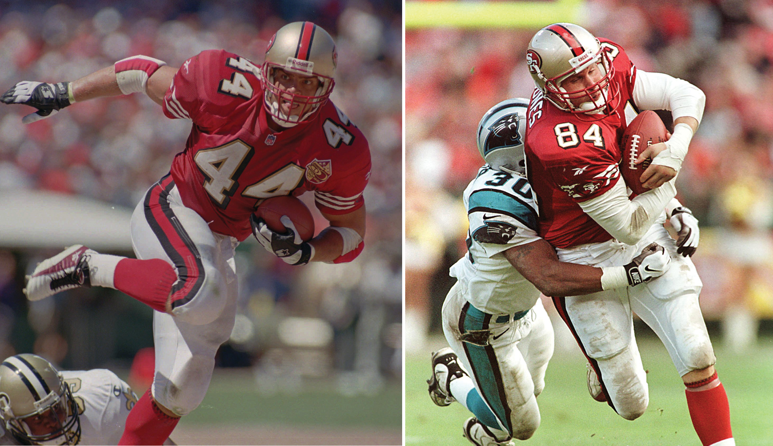 San Francisco 49ers fullback Tommy Vardell in 1996 and 49ers tight end Brent Jones in 1997.