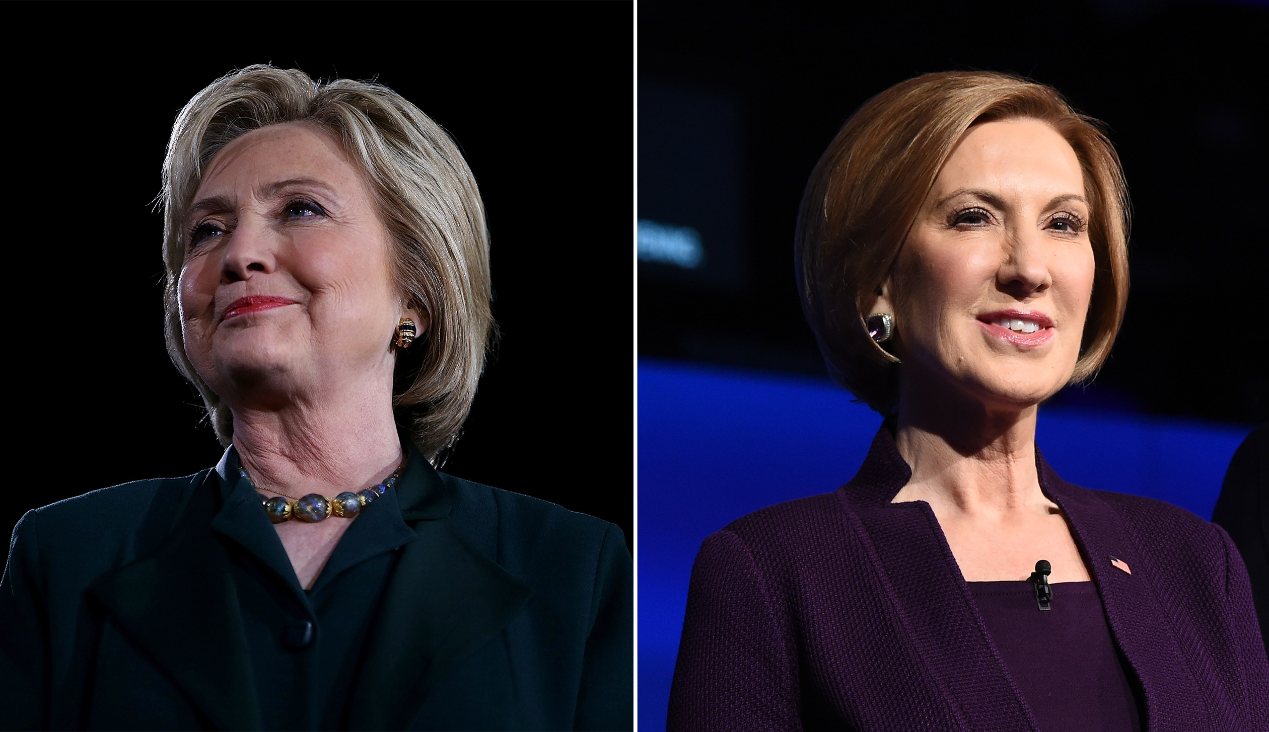 Hillary Clinton, left and Carly Fiorina.