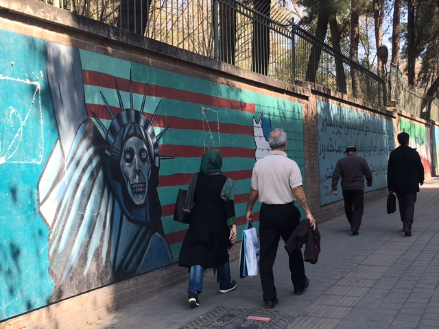 The Statue of Liberty as a skeleton, painted on the wall outside the former US Embassy in Tehran. The Embassy has been shut since 1979, when students took American diplomats hostage for 444 days.