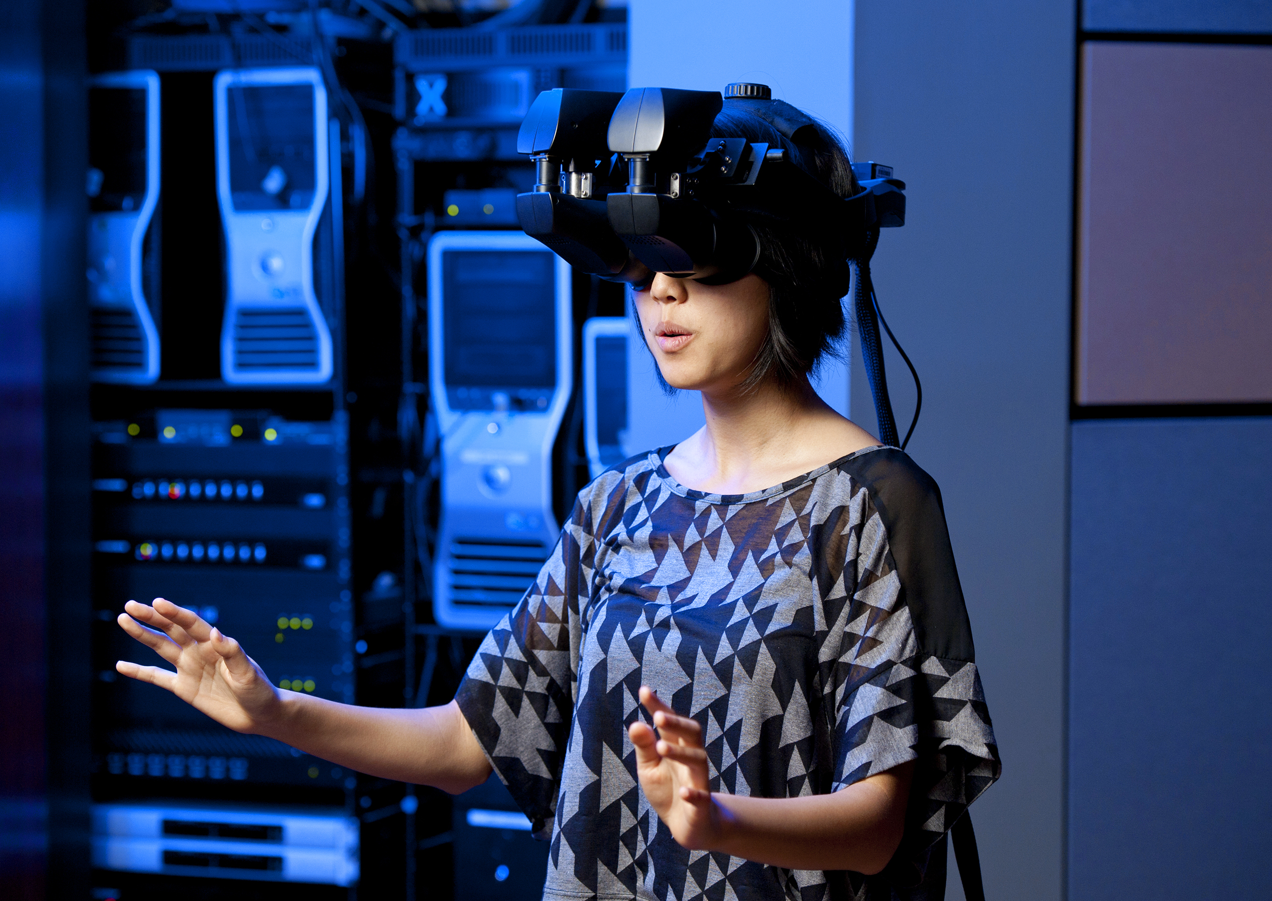 Programmer Tina Roh works in Stanford Virtual Human Interaction Lab.