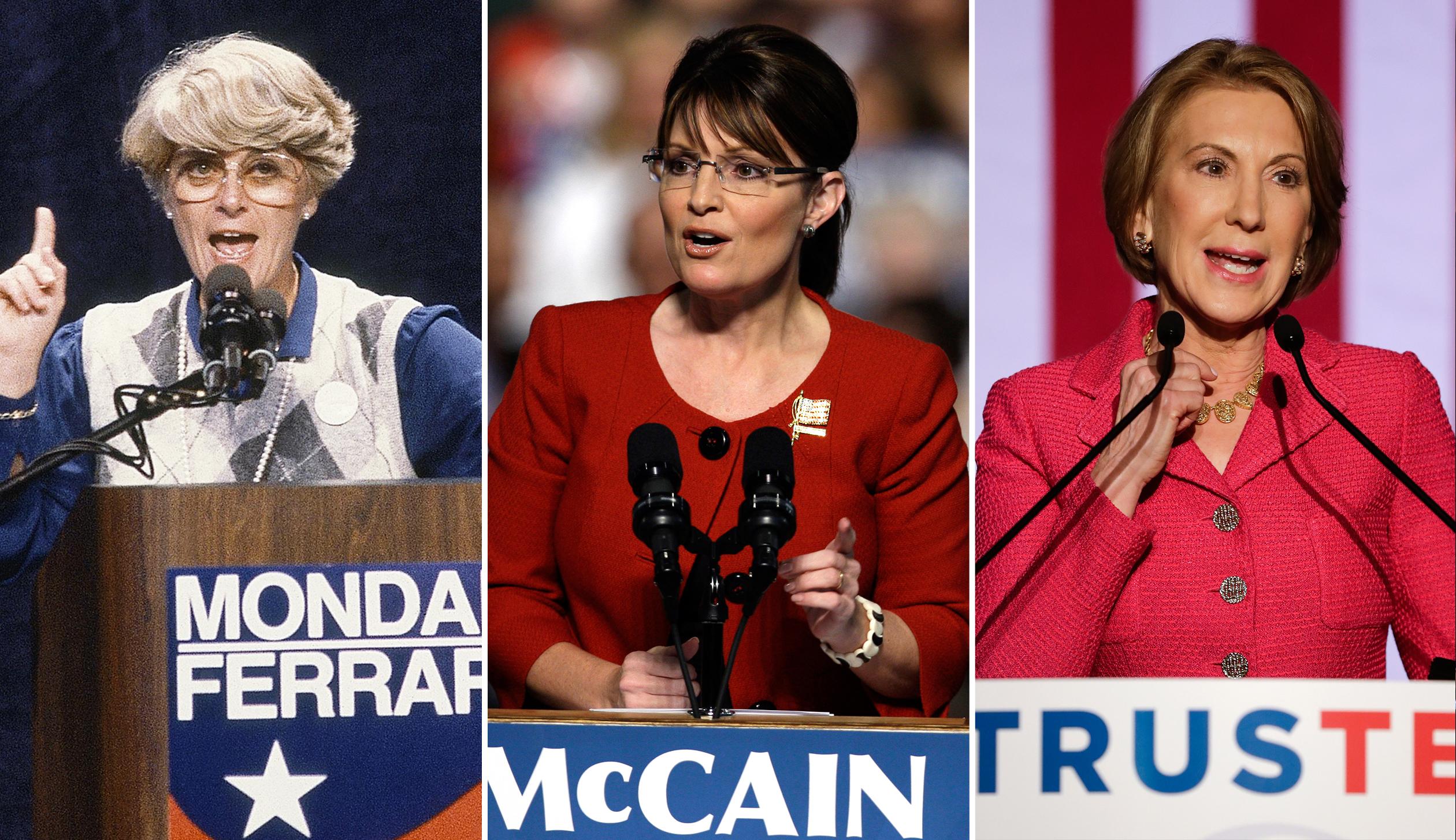 Geraldine Ferraro, left, Sarah Palin and Carly Fiorina.