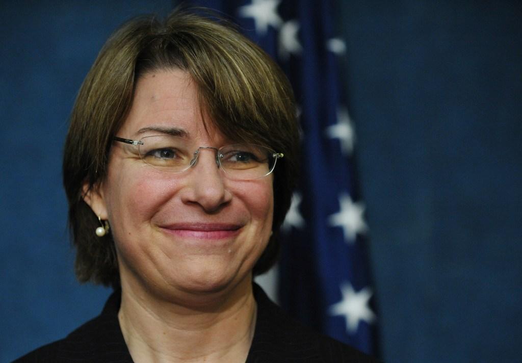 Senator Amy Klobuchar, D-MN, listens to