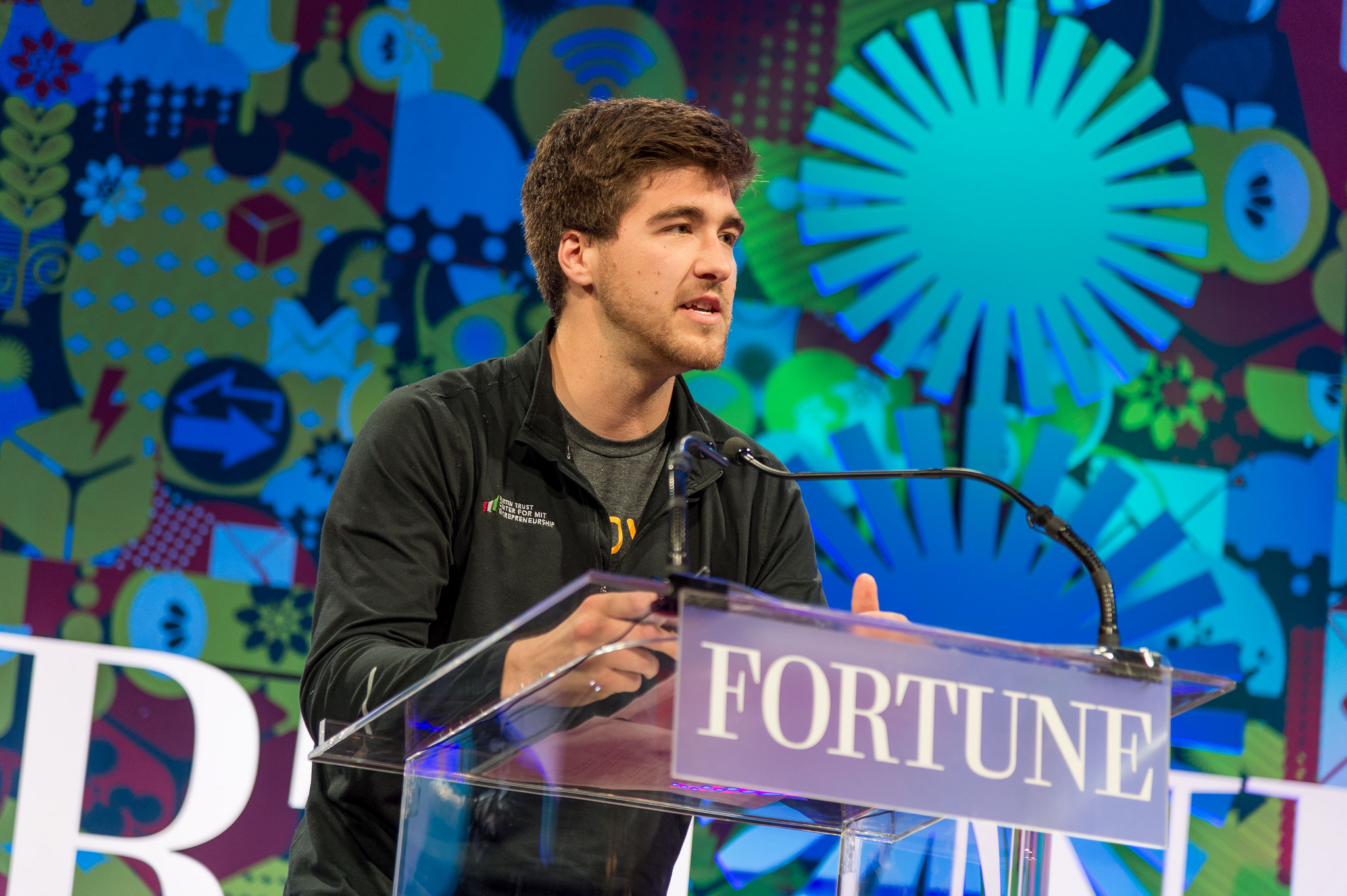 Gabe Blanchet, CEO and co-founder of Grove, makes his pitch to a panel of investors and the audience at Fortune's Brainstorm E summit on Tuesday, May 17, 2016.