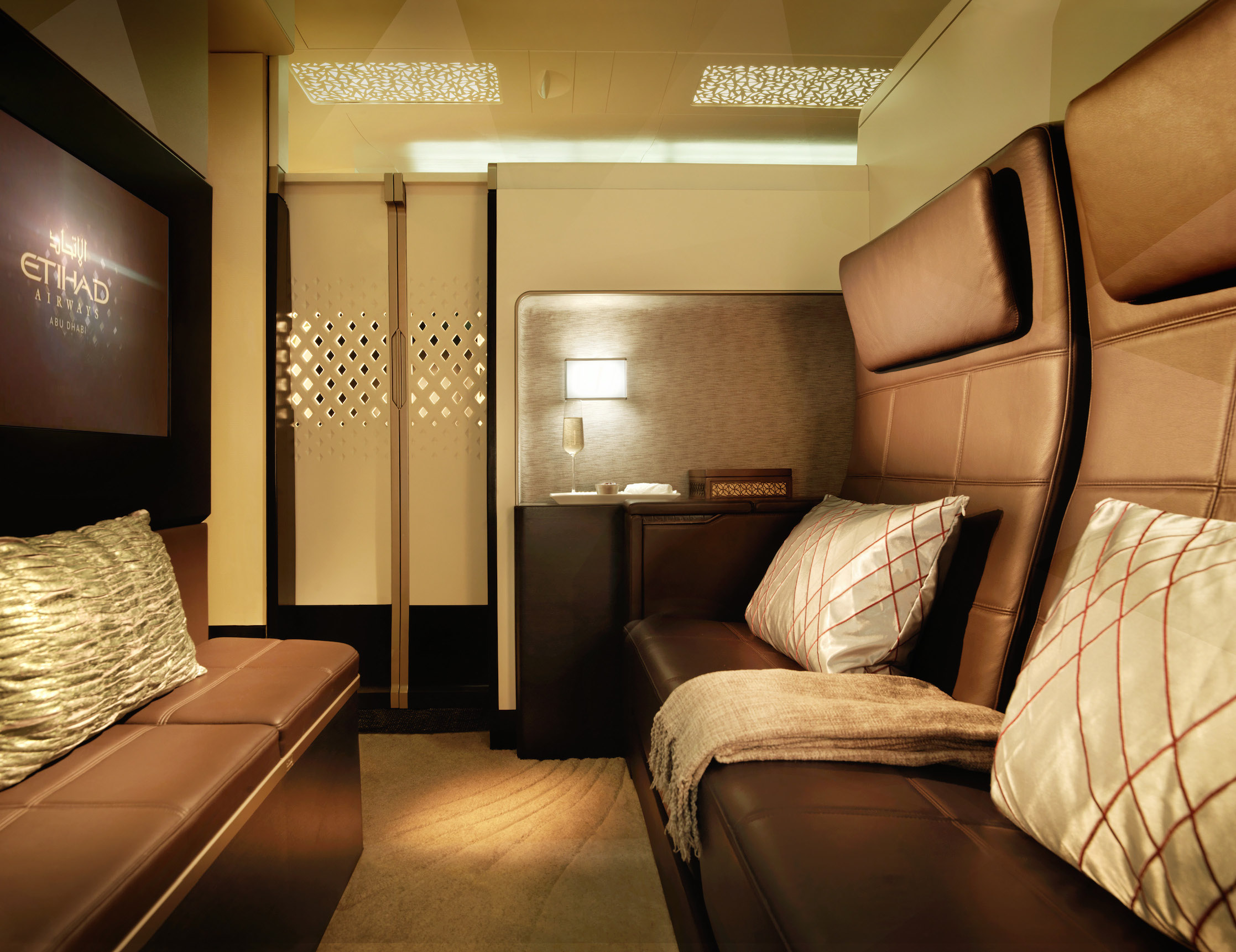Passengers who book Etihad Airways' The Residence—a private suite that includes a bedroom, bathroom, and a lounge area—pay $38,000 to fly from Mumbai to NYC.