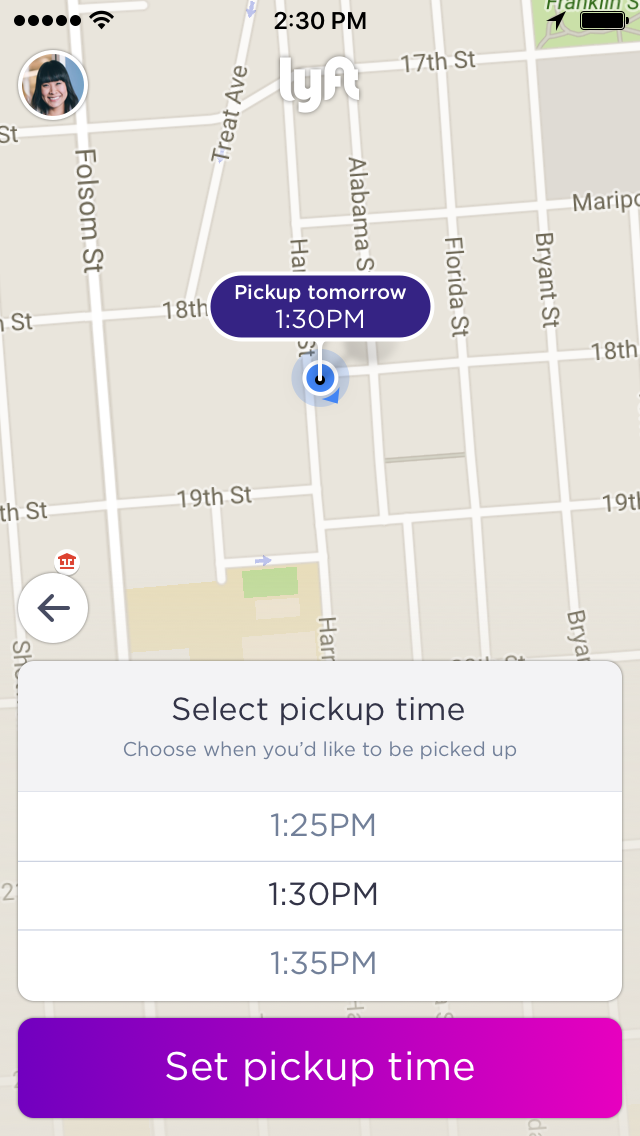 Lyft's new ride scheduling feature.
