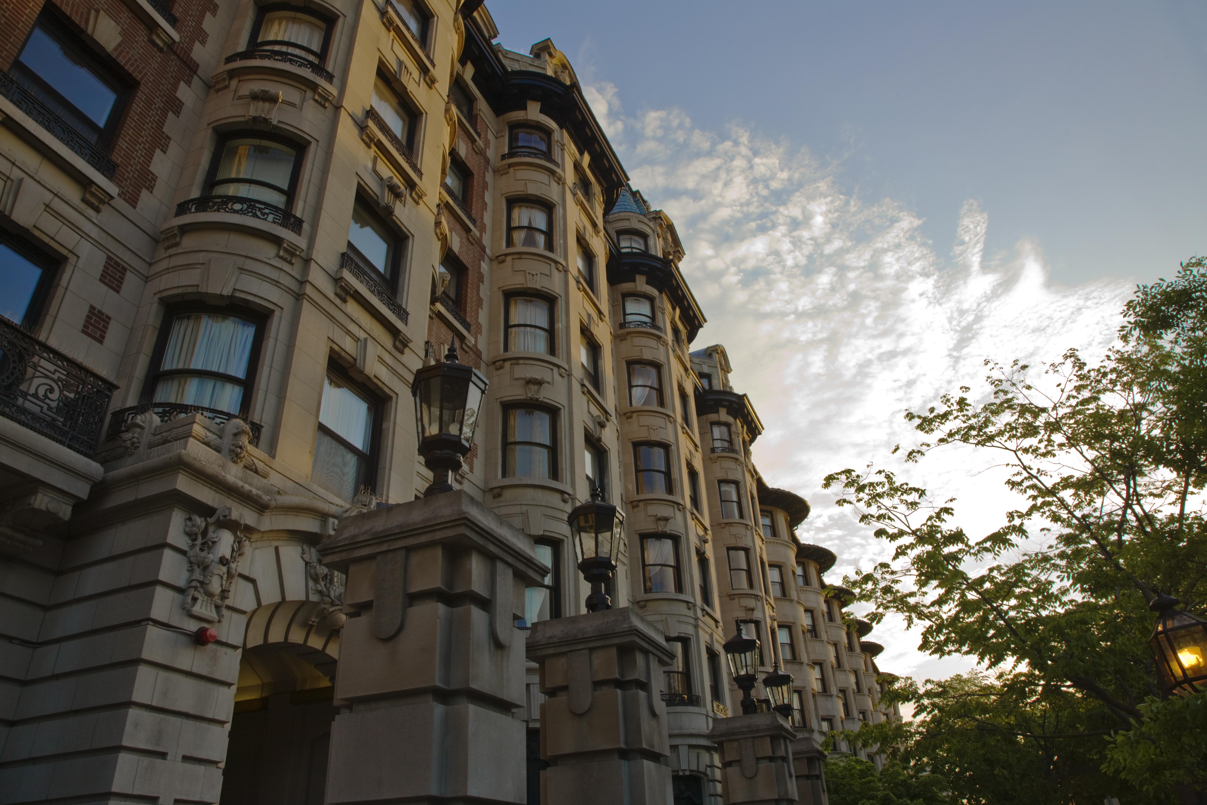 Classic Stone Buildings Along Commonwealth Avenue, Boston, Massachusetts