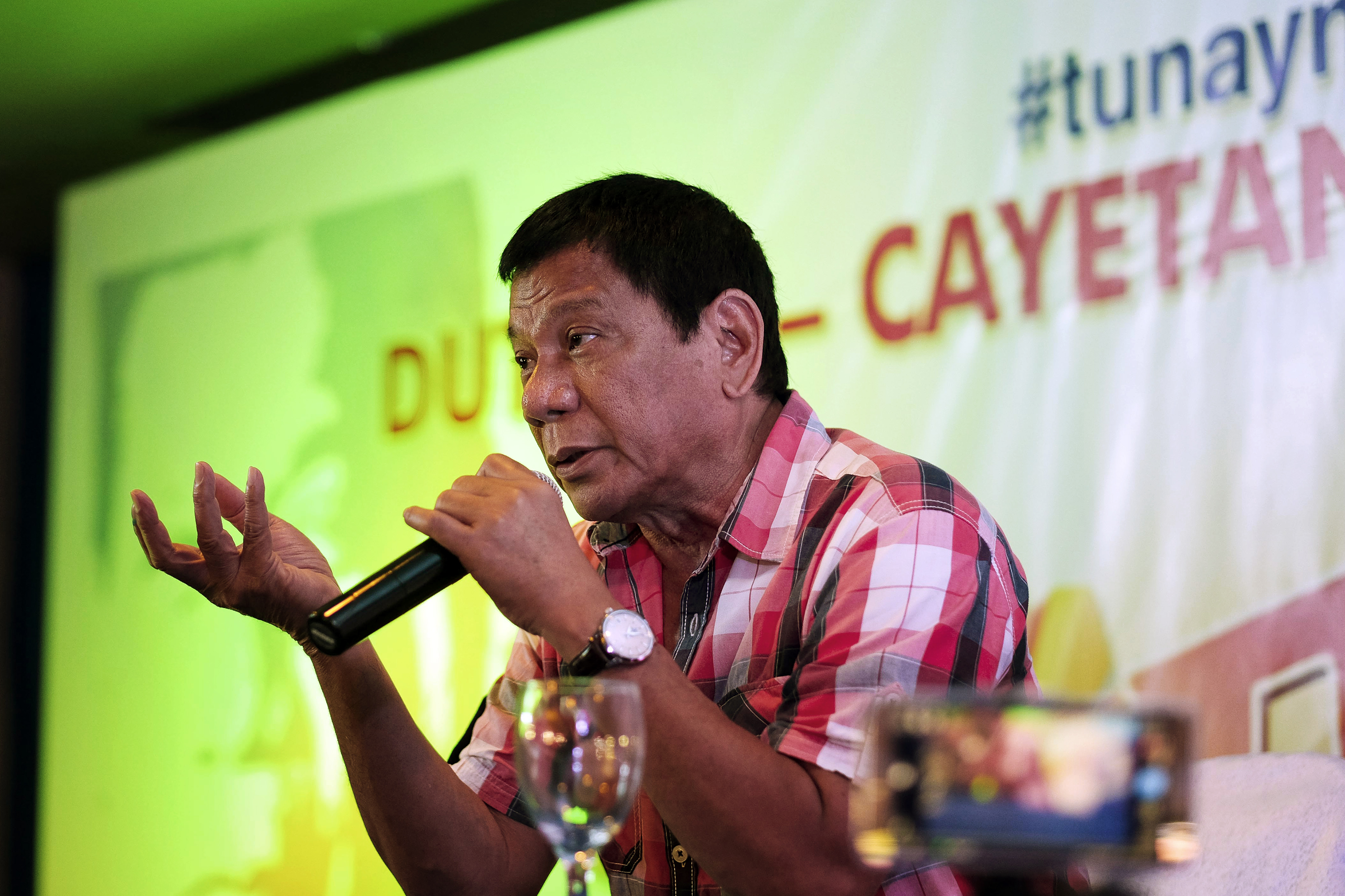 Davao Mayor Rodrigo Duterte Votes As Filipinos Head To The Polls For Presidential Election