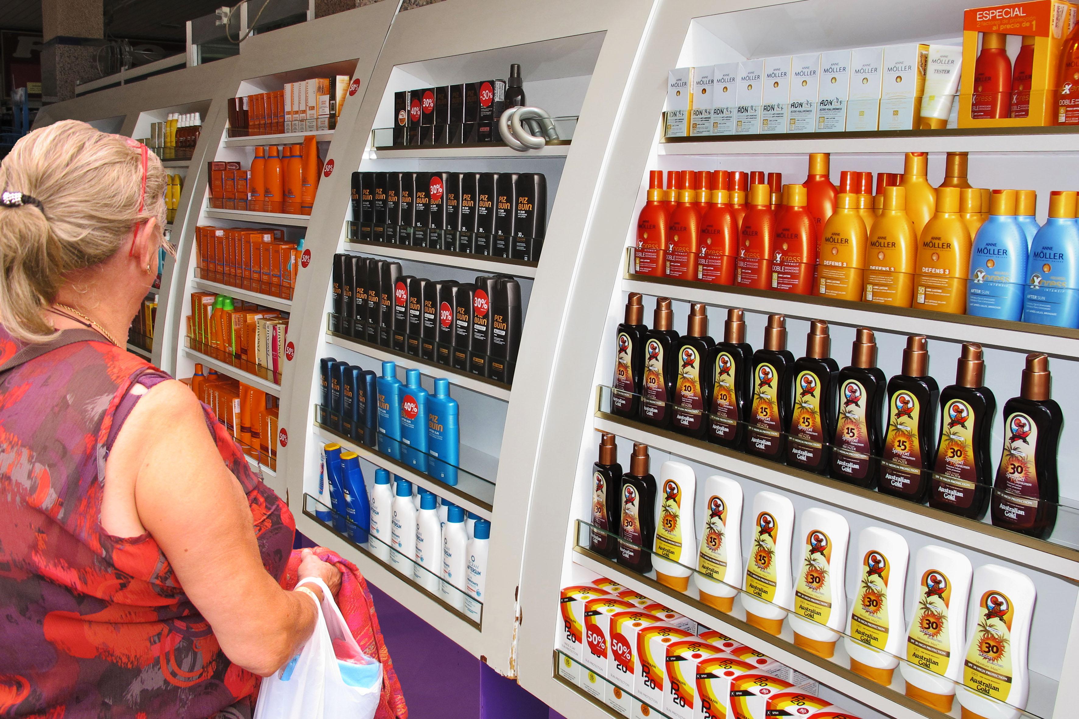 Verkauf von Sonnenschutzmittel in Jandia auf Fuerteventura /S?d