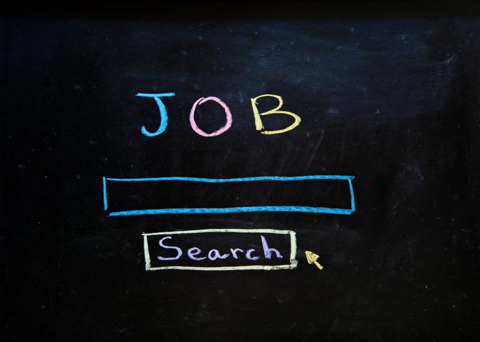 Job search written in chalk on a blackboard