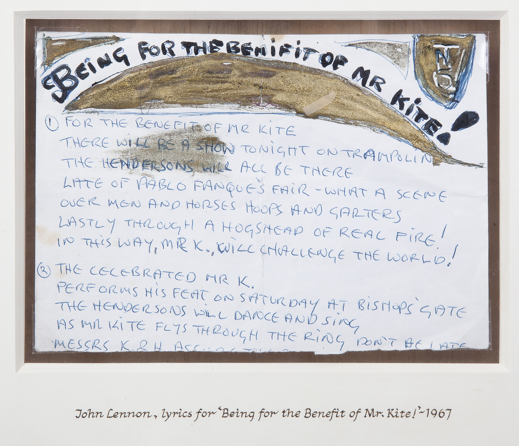 "A John Lennon handwritten page of lyrics for the song ""Being for the Benefit of Mr. Kite!"""
