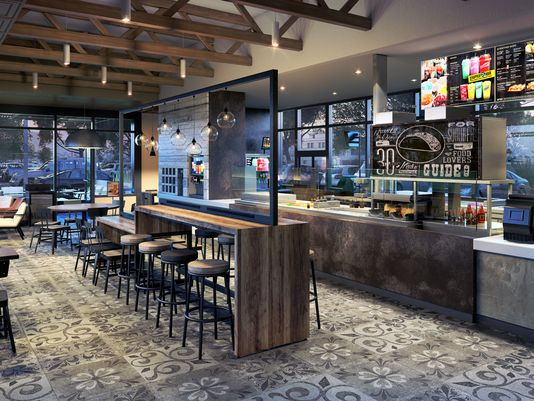 A rendering of what Taco Bell's new concept stores will look like.