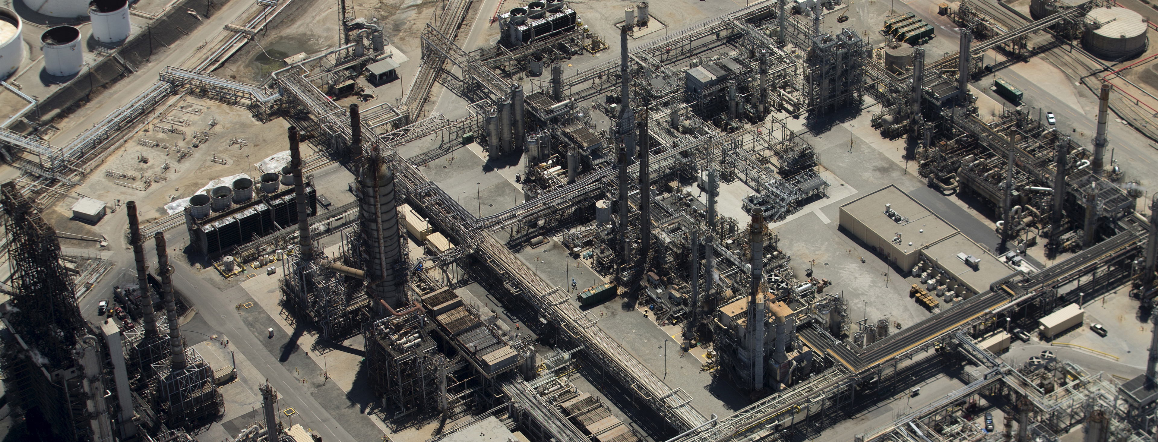 The Tesoro oil refinery is viewed from the air in Carson, California