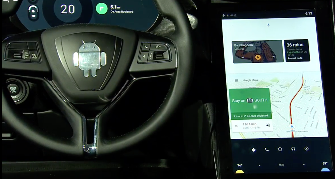 Google showed off what an infotainment system powered by Android might look like at its developer conference on May 18.