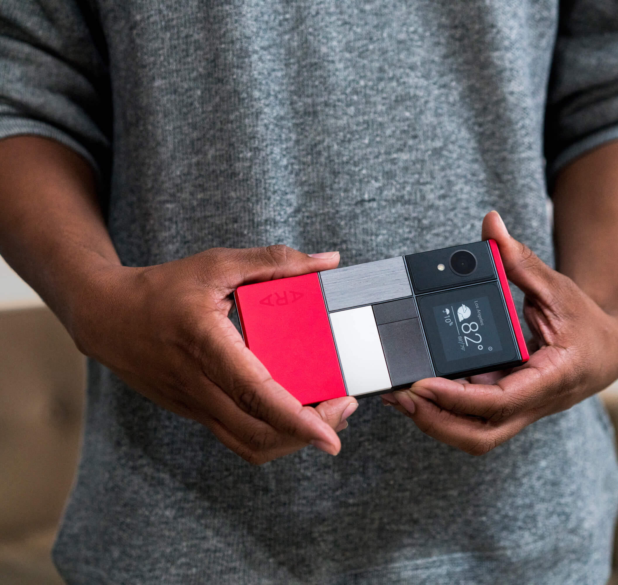 One configuration of Google's Project Ara modular phone.