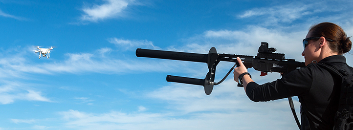 Battelle's DroneDefender taking aim.