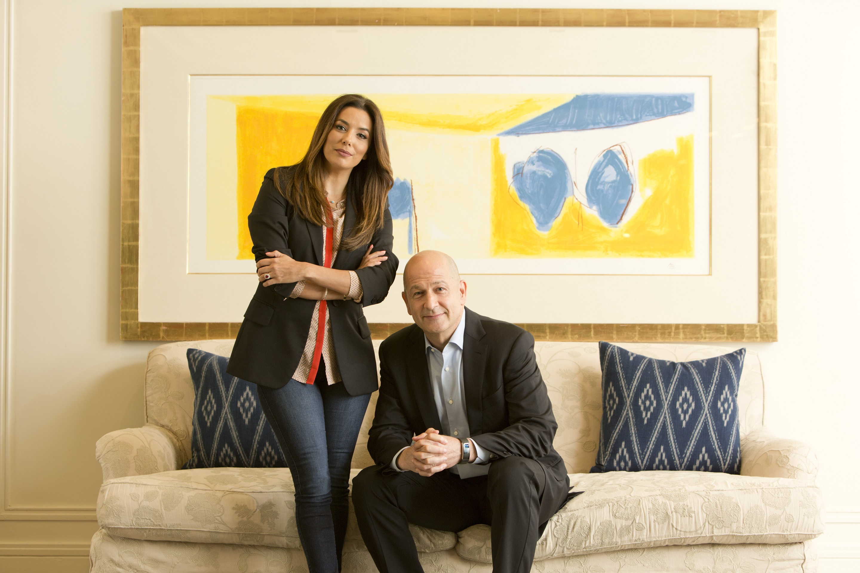 Bobby Turner and Eva Longoria pose for an informal portrait at Shutters on the Beach in Santa Monica, California.