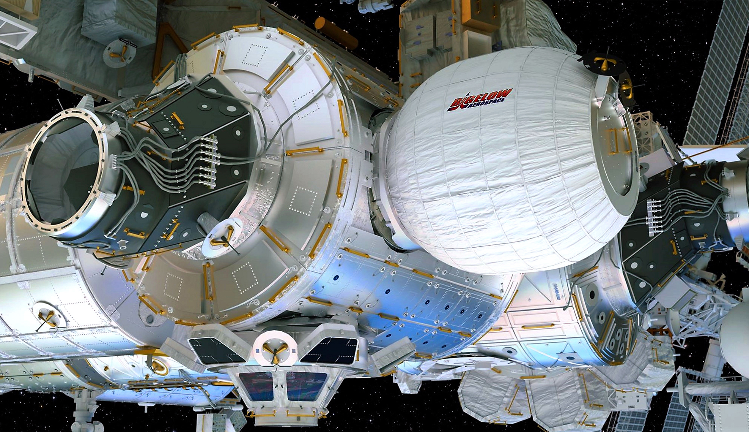 An artist's rendering of the space habitat, now attached to the ISS.