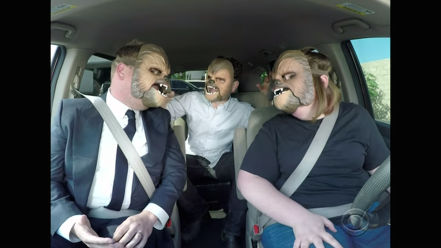 "Viral sensation ""Chewbacca Mom"", aka Candace Payne, on The Late Late Show with James Corden and J.J. Abrams."