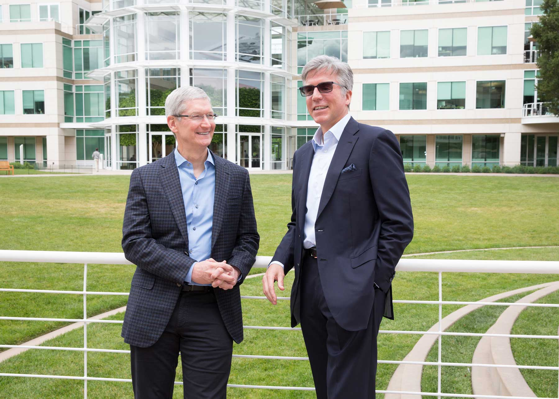 Apple CEO Tim Cook and SAP CEO Bill McDermott meet at Apple's campus in Cupertino to announce a new partnership to revolutionize work on iPhone and iPad.