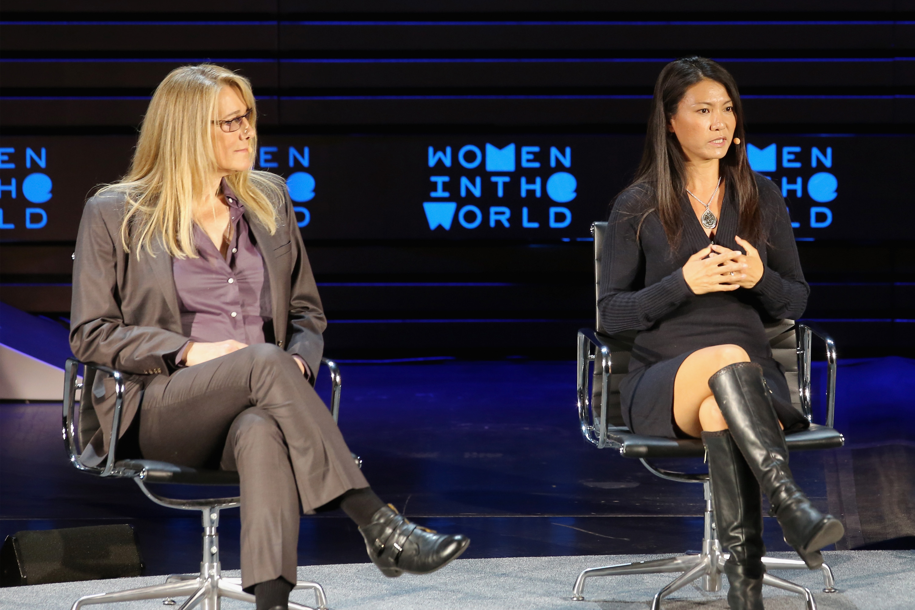 speaks onstage at  during Tina Brown's 7th Annual Women in the World Summit at David H. Koch Theater at Lincoln Center on April 8, 2016 in New York City.