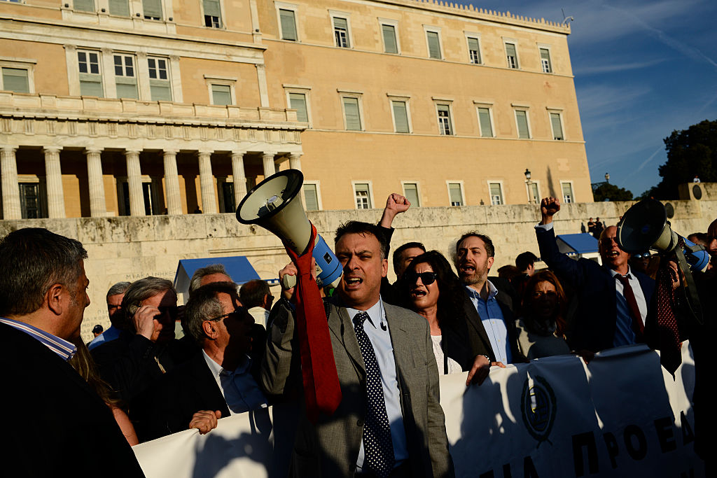 Lawyers chant slogans against planned reforms in Syntagma