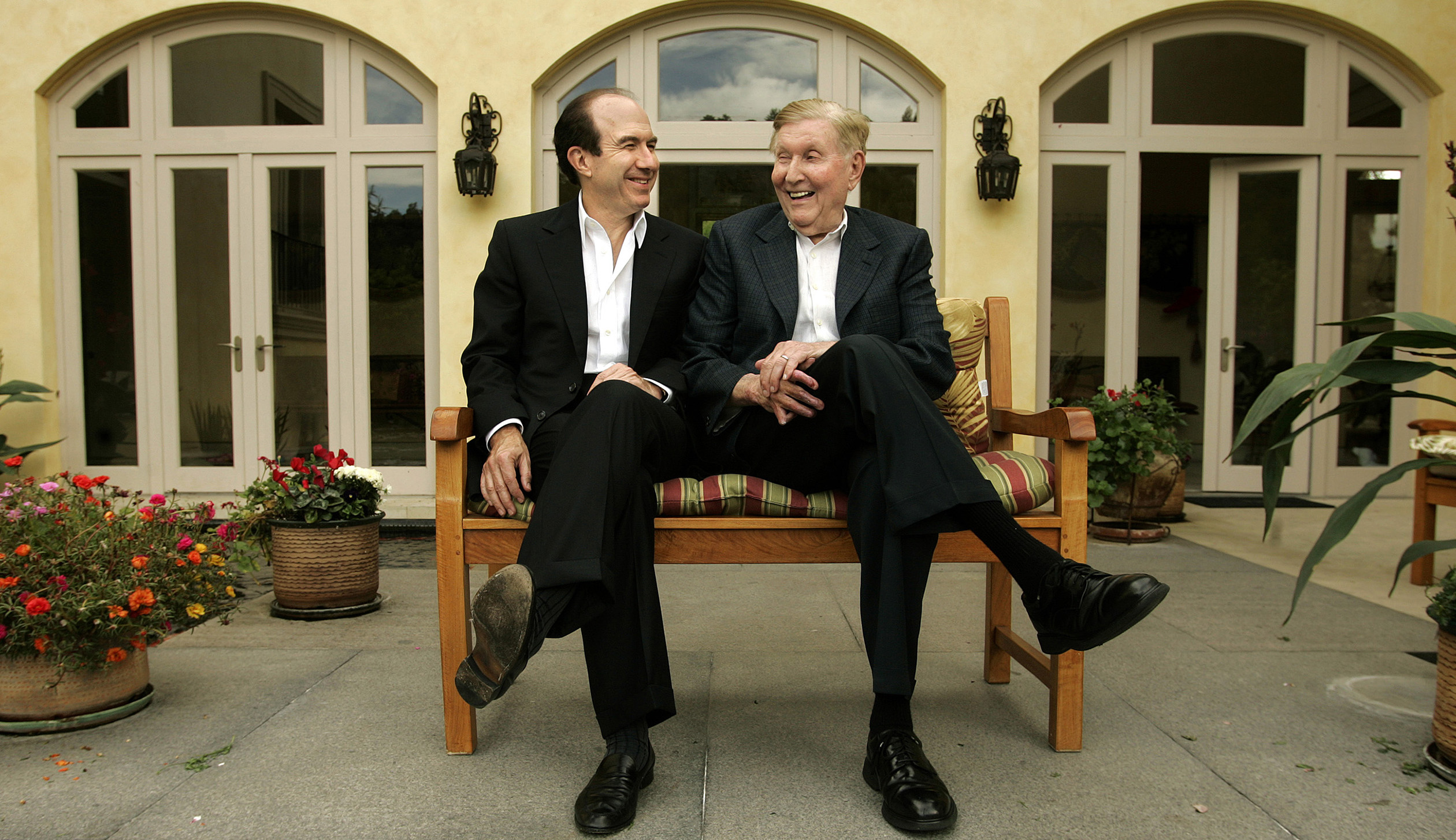 Philippe Dauman, left, with Sumner Redstone in  2007.