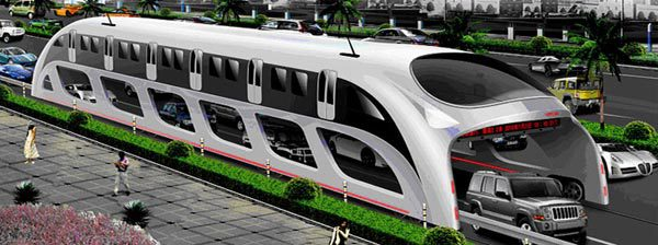 Concept art of the Transit Elevated Bus, which was tested in China this summer.