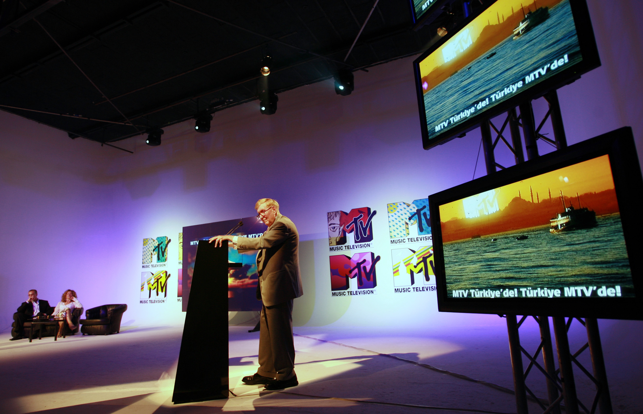 Viacom Executive Chairman Sumner Redstone addresses guests at the MTV studios in Istanbul