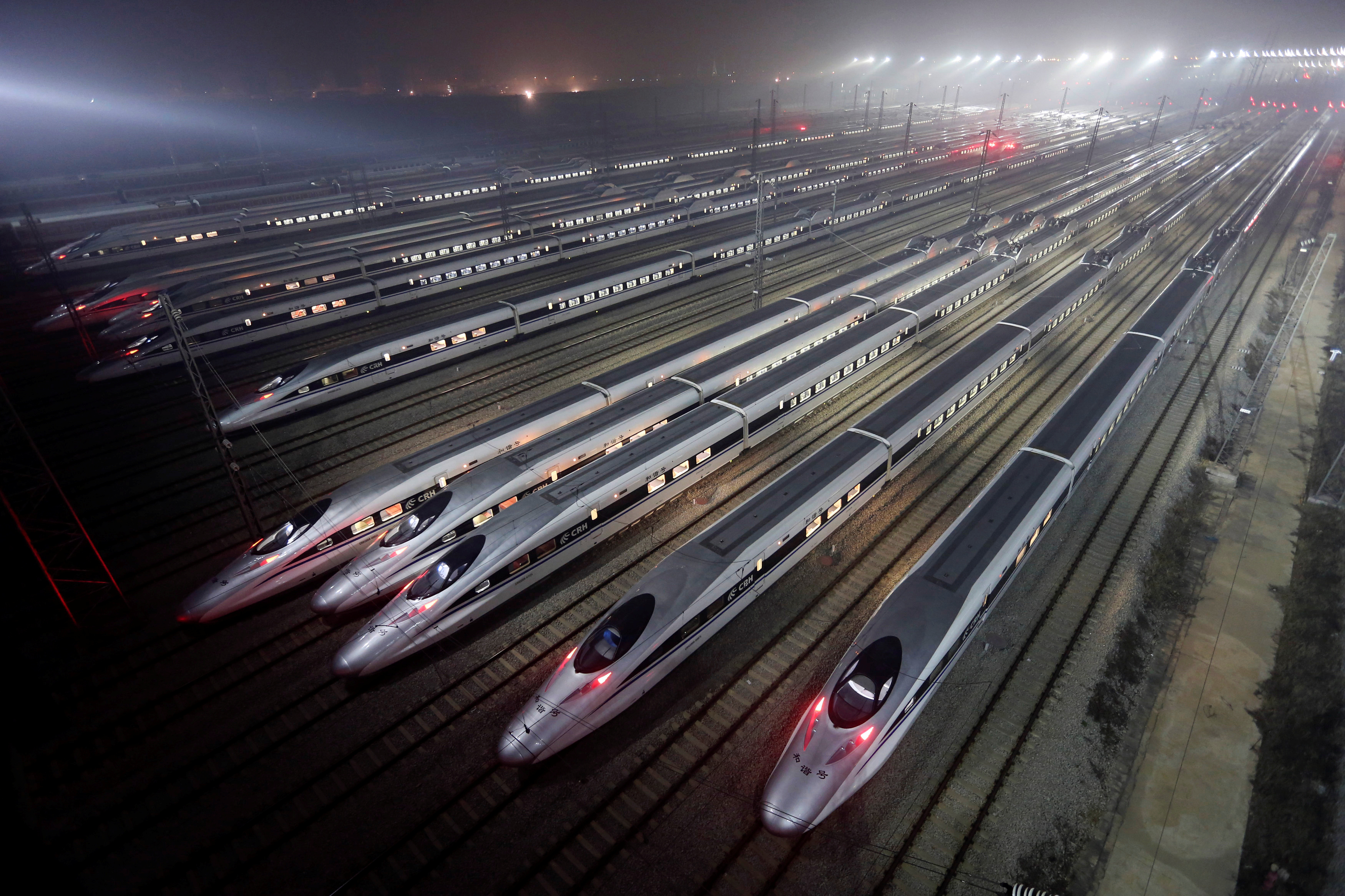China Railway High-speed Harmony bullet trains are seen at a high-speed train maintenance base in Wuhan