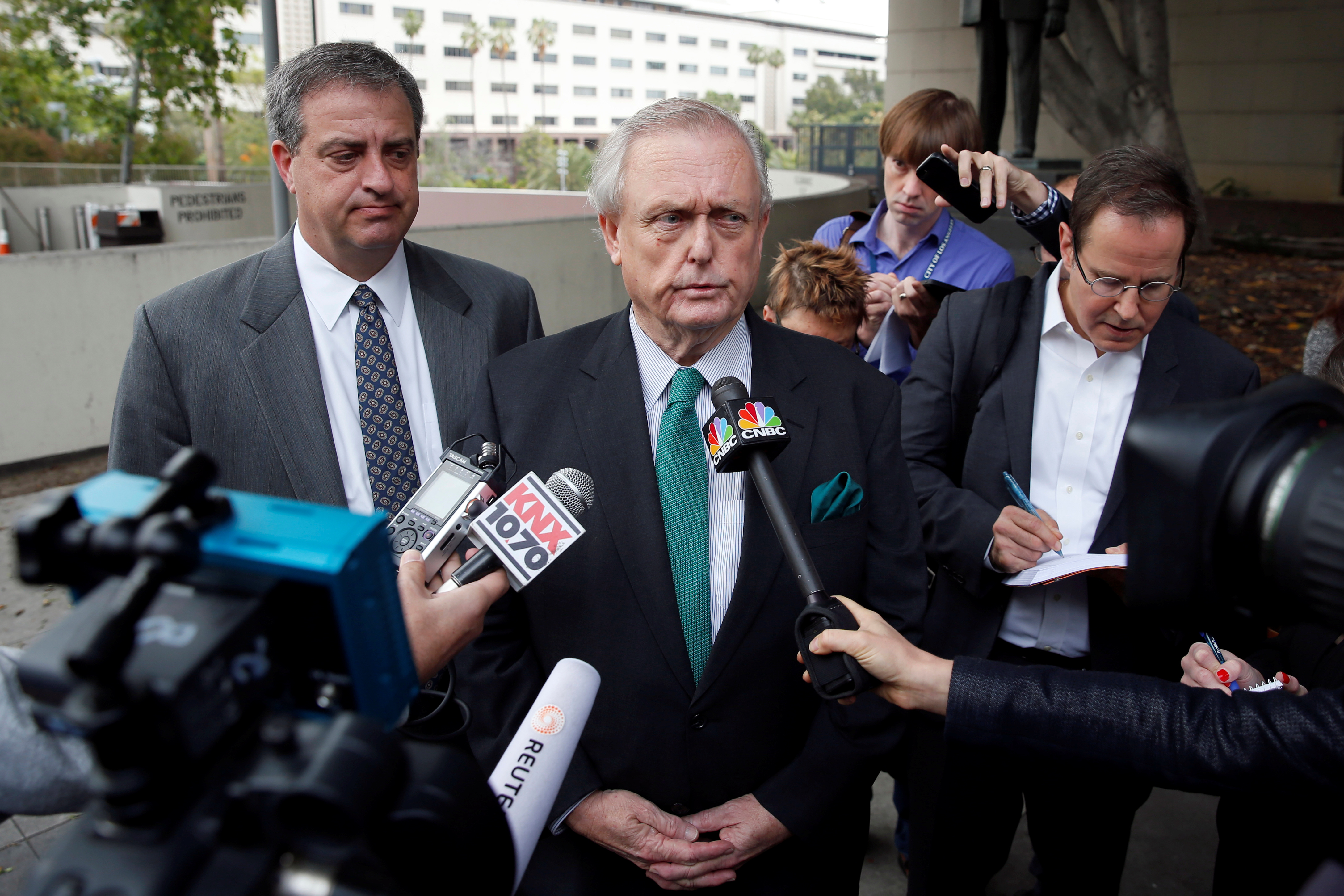 Manuela Herzer's attorney Pierce O'Donnell speaks outside court after representing the former girlfriend of 92-year-old Sumner Redstone, who was suing to be reinstated as the person in charge of Redstone's healthcare, in Los Angeles