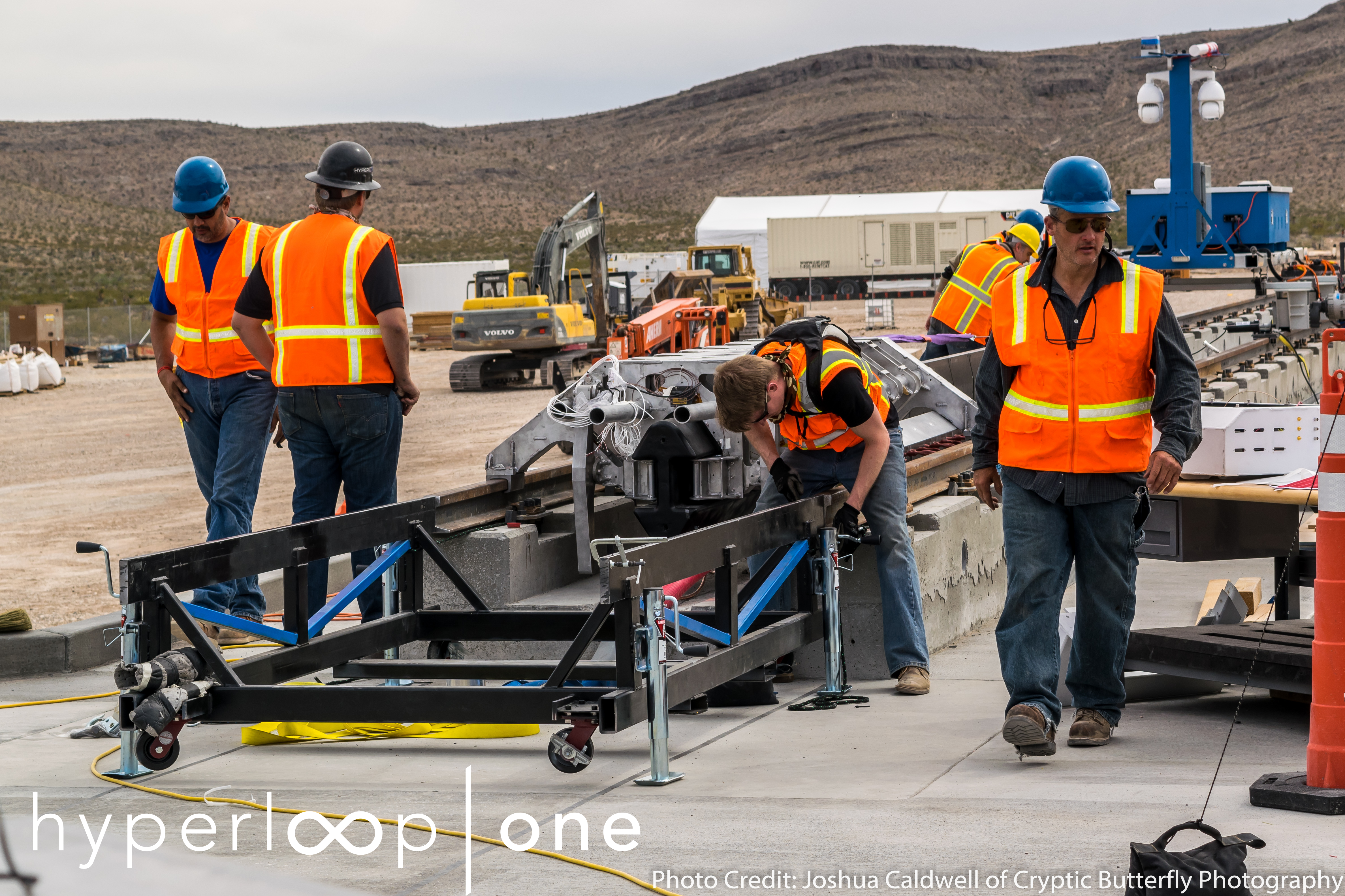 "The ""sled"" used by Hyperloop One during a public demo of its propulsion system."