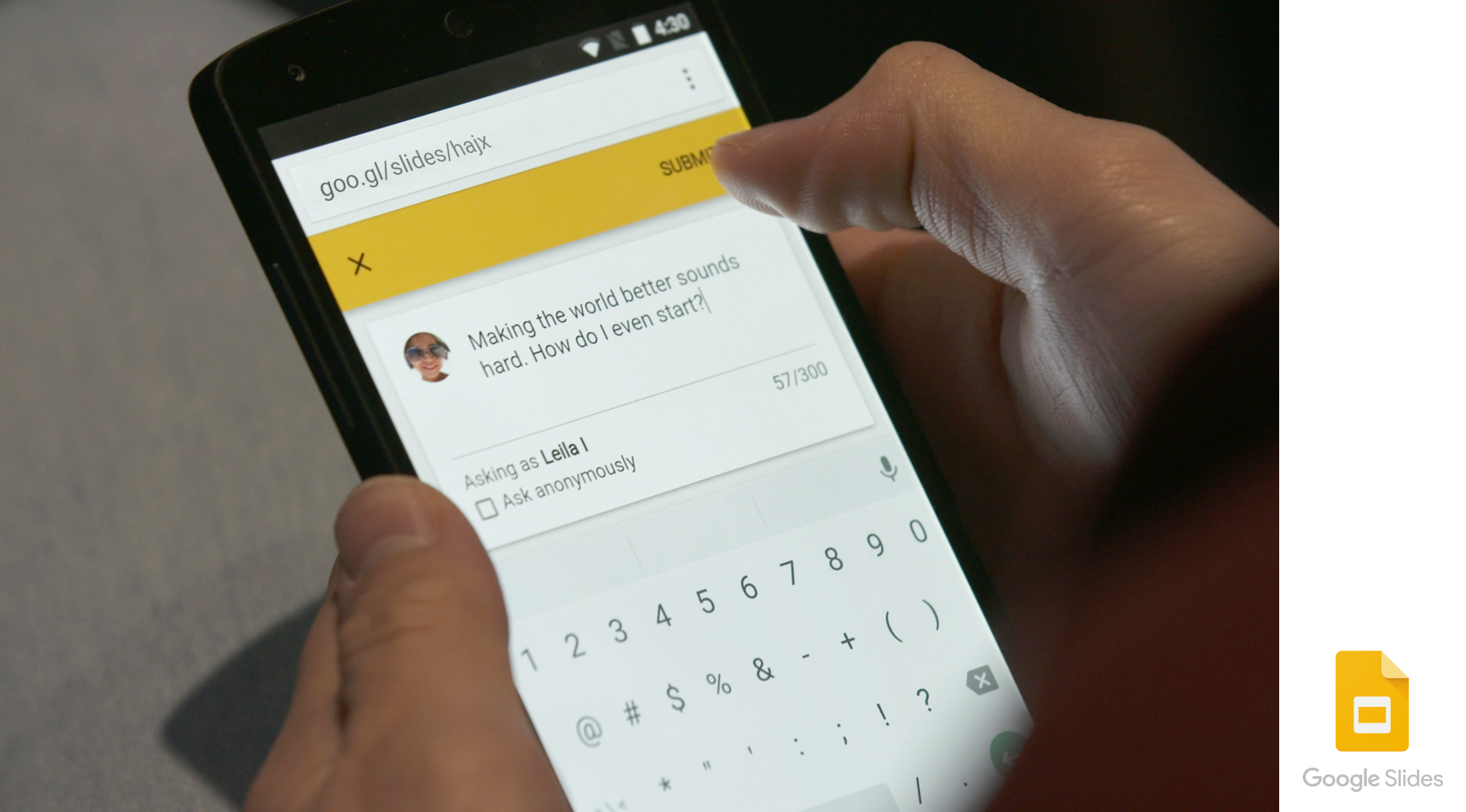 Google Slides Q&A feature.