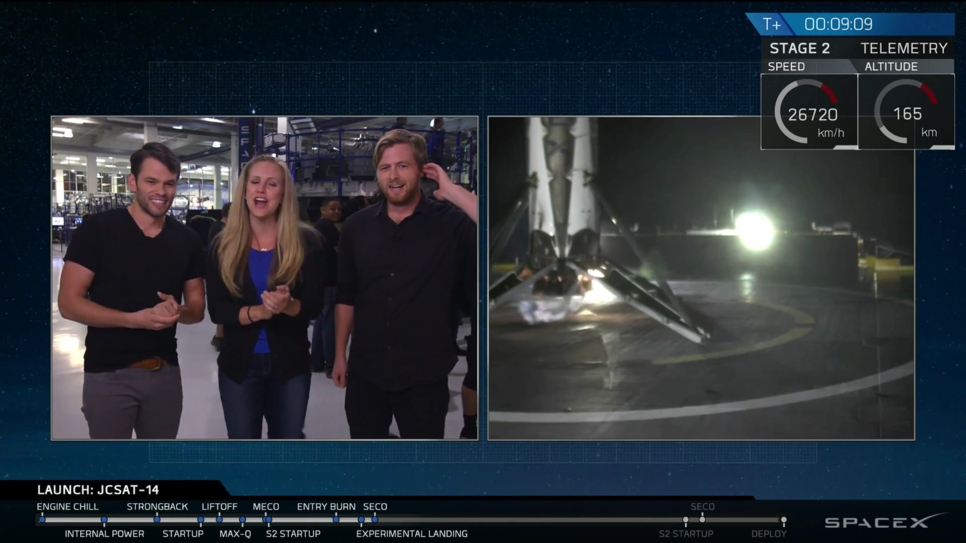 SpaceX successfully lands a rocket stage on its ship for the second time.